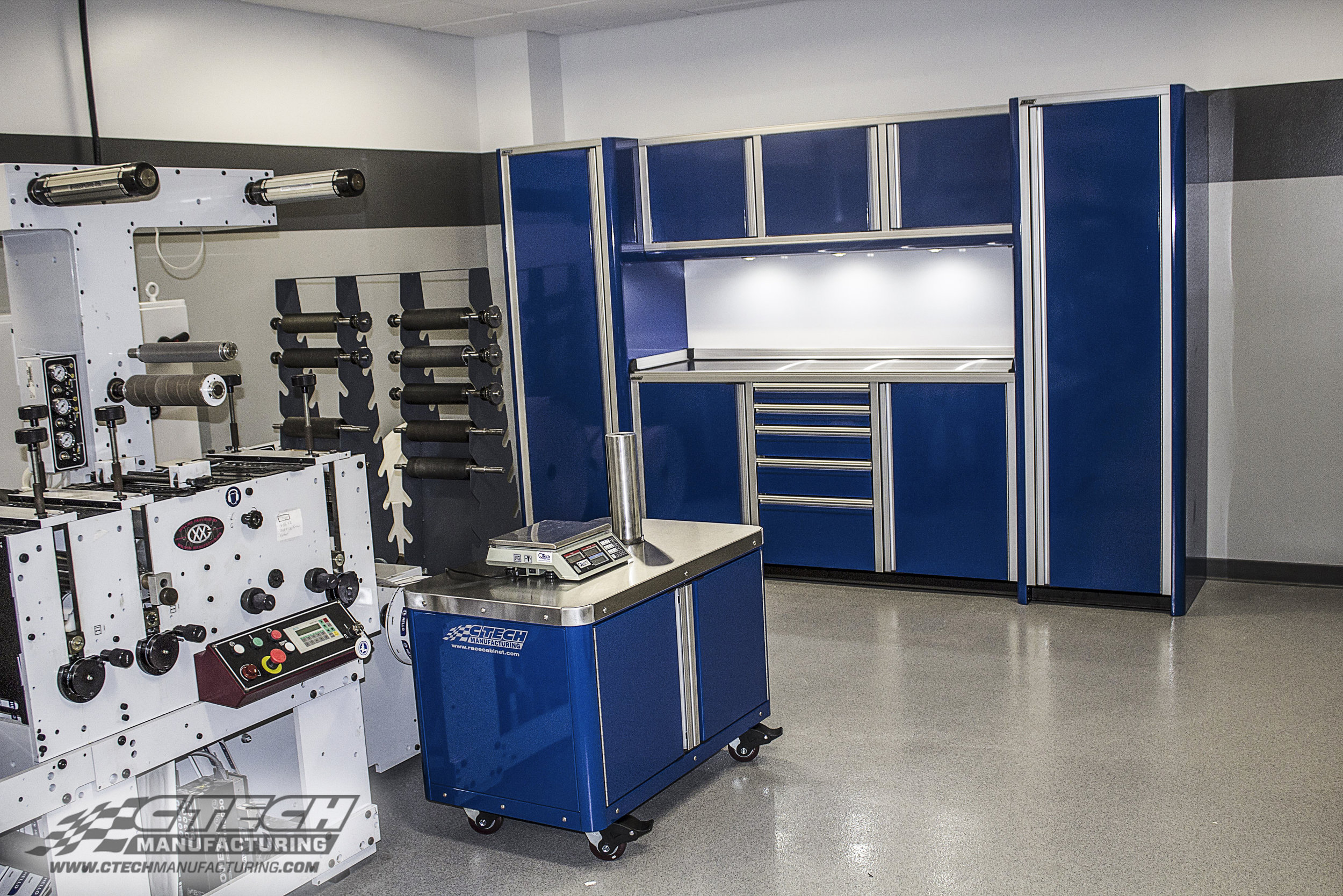 CTECH Caster Carts make excellent fabrication and machine operator sidekicks. NorthCentral Technical College's mill room is better equipped than ever with this setup! We even offer Ultra Series stationary cabinet setups with integrated storage carts, ready to order! BOM 31312