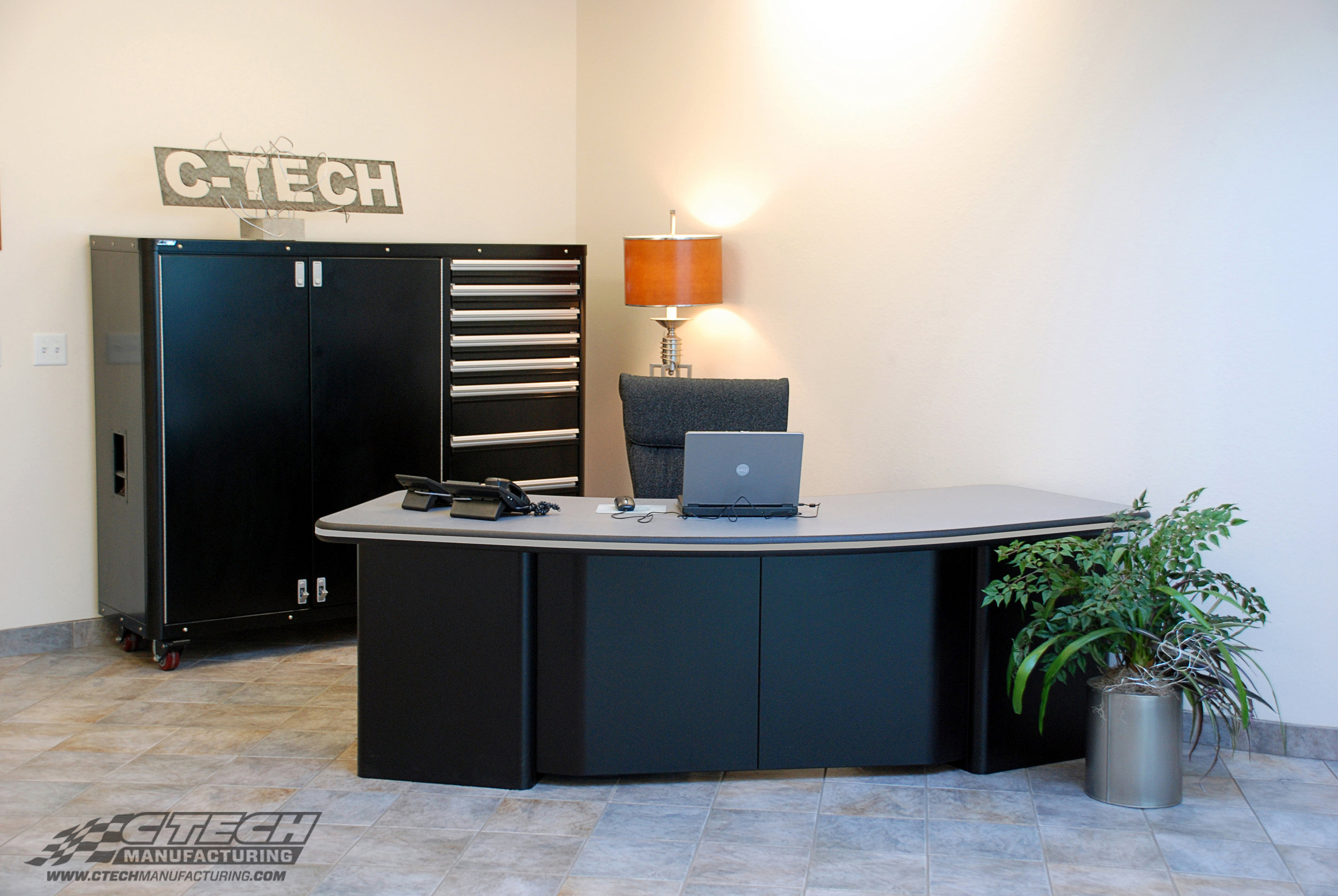 CTECH cabinets were developed and proven in the racing industry, but fit right in at the office! Ultra Series cabinets are available in two-tone color combinations, sleek radius-edge corners, countertop option, and a flush-faced design that supports a high-performance look.