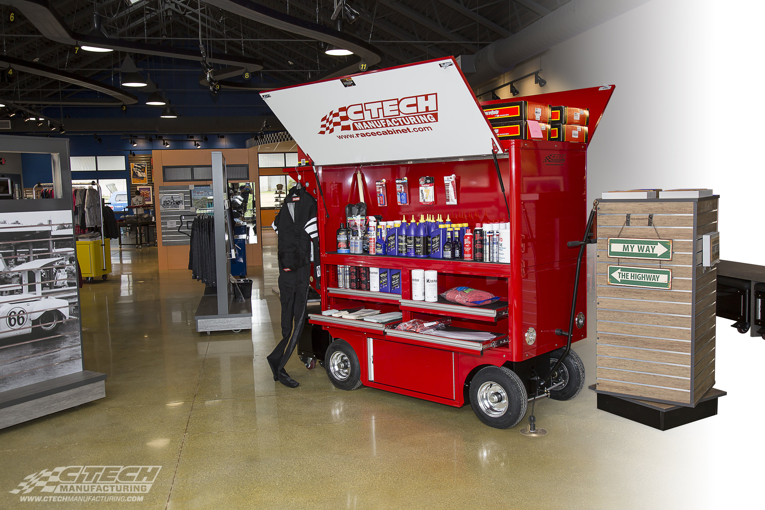CTECH Pro Series carts are easily adapted to become mobile, all-in-one retail display and stocking units. Built-in LED lighting and MotionLatch drawers give customers a unique, interactive platform for any product showcase.