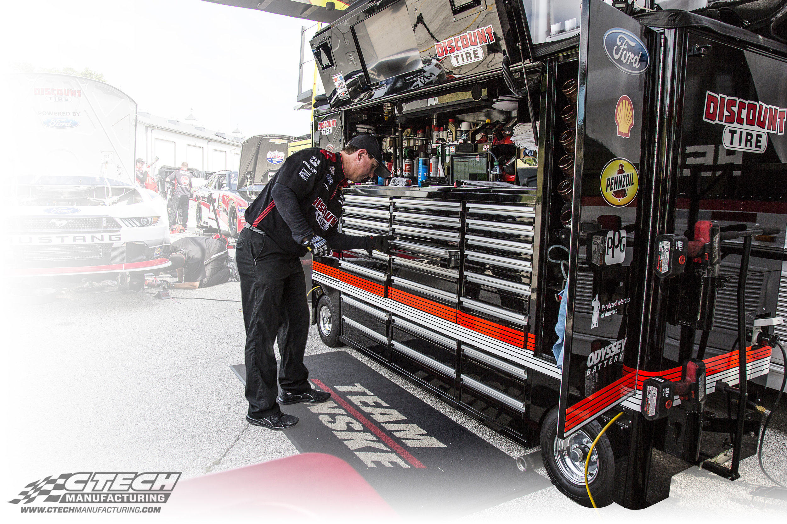 NASCAR's top teams trust CTECH to provide them with mobile tool/equipment storage that mirrors a fully equipped garage. Our Garage Box boasts a massive amount of drawer/cabinet storage, along with a spacious worktop and plenty of power distribution options.