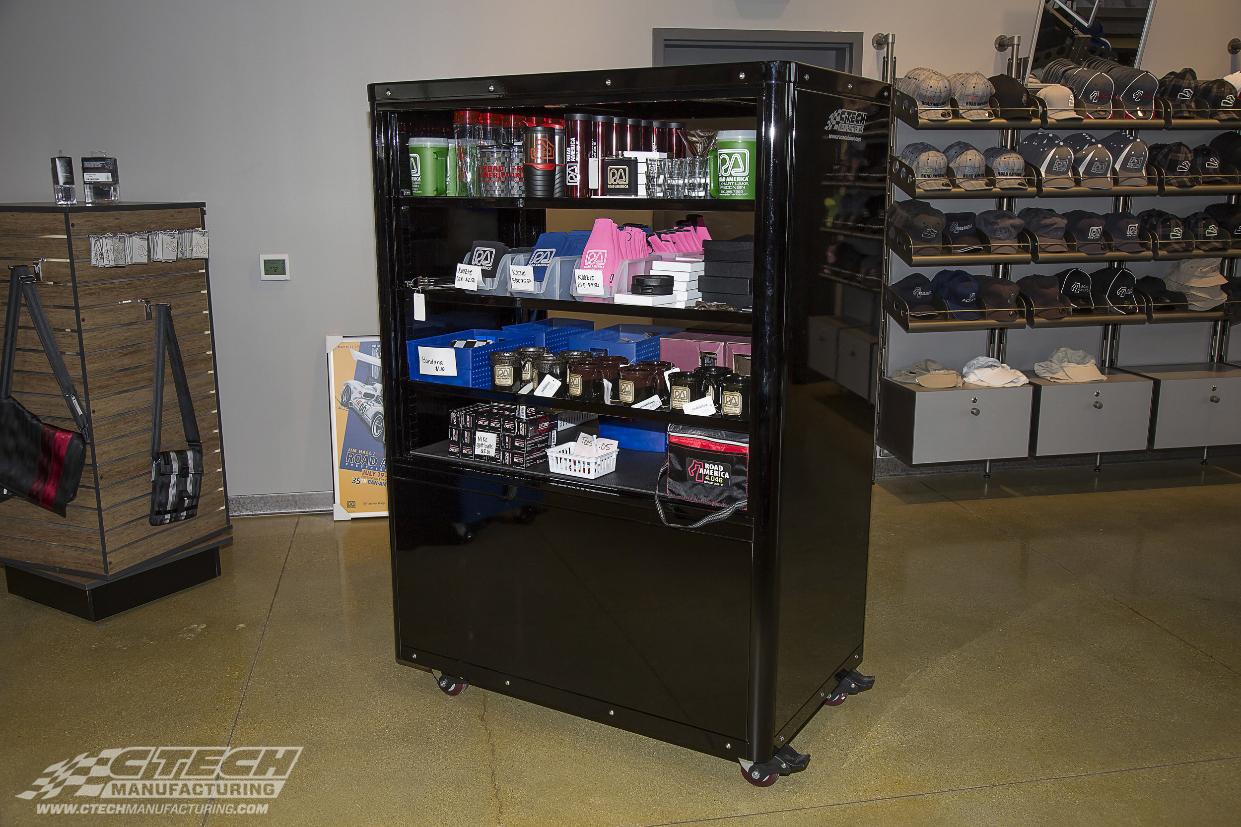 Display carts from CTECH feature Adjust-A-Loc shelves, which are easily adjustable beyond delivery so your retail display and storage unit can adapt quickly to showcase the newest product.