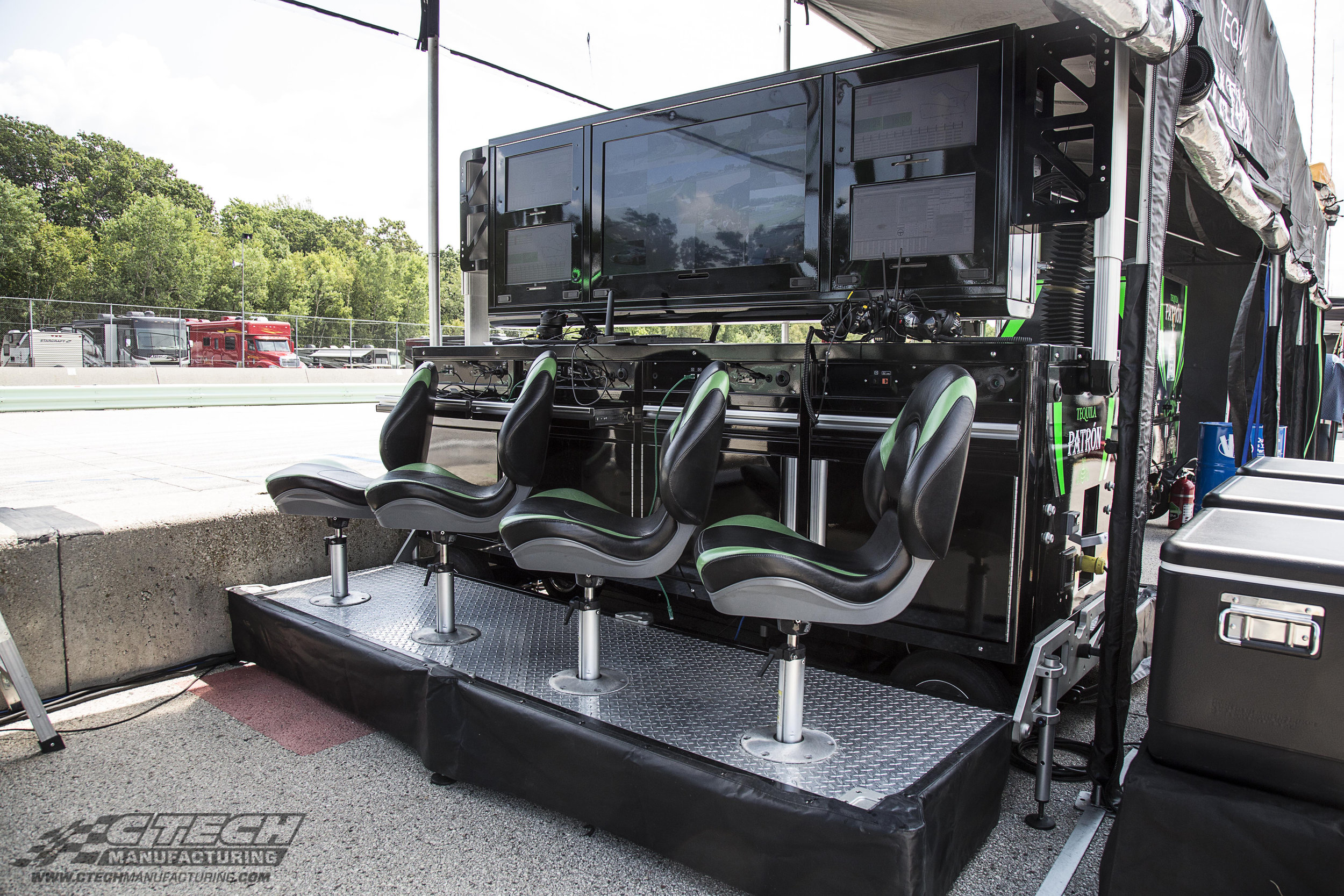 Timing & Scoring Carts by CTECH help your team keep a closer eye on team cars, as well as the competition. Power and network hookups are provided to support multiple workstations on the observation deck.