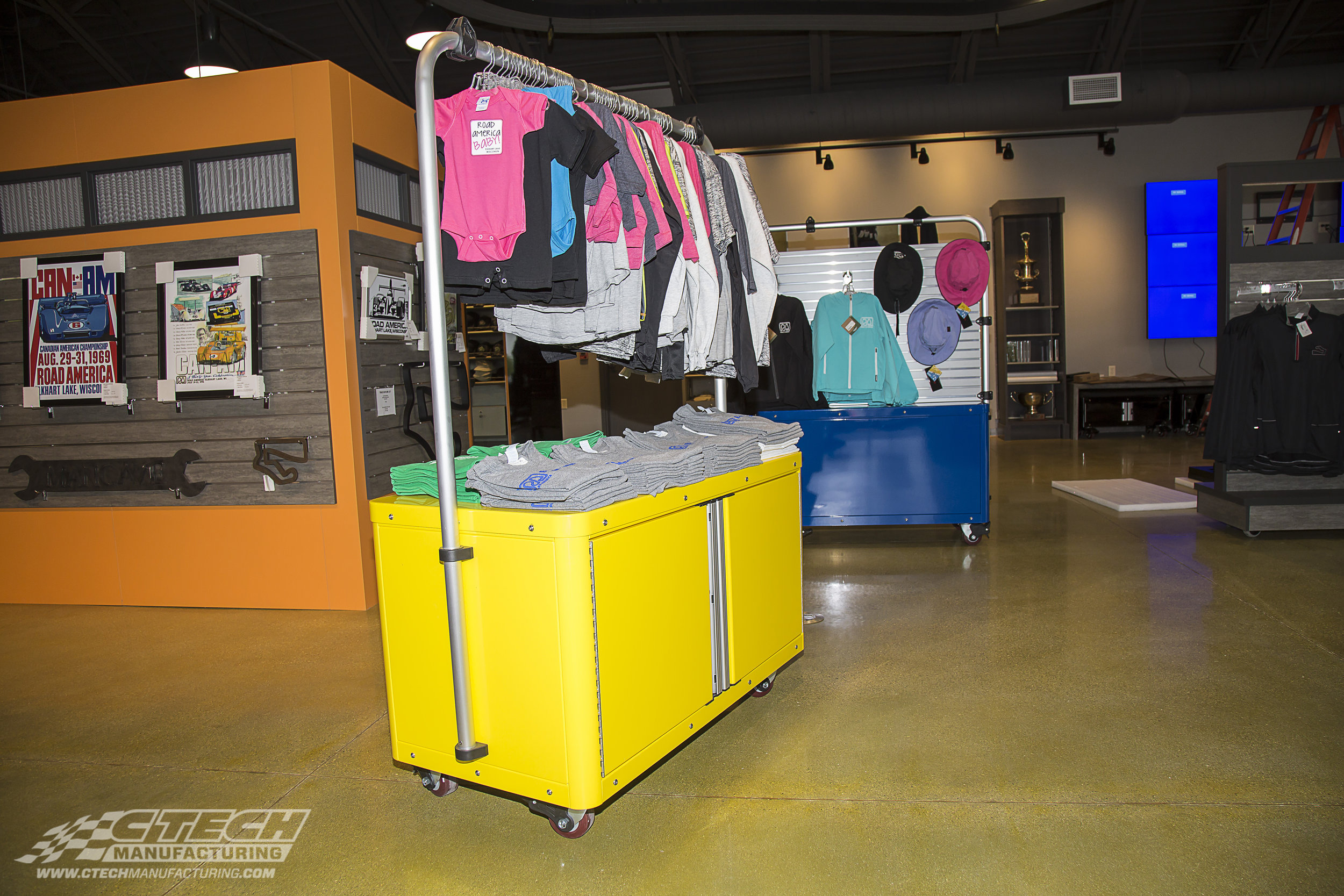 Retail display caster carts have never looked so good! The finishing quality and adaptability of CTECH Caster Carts makes them excellent platforms for retail display and stocking applications.