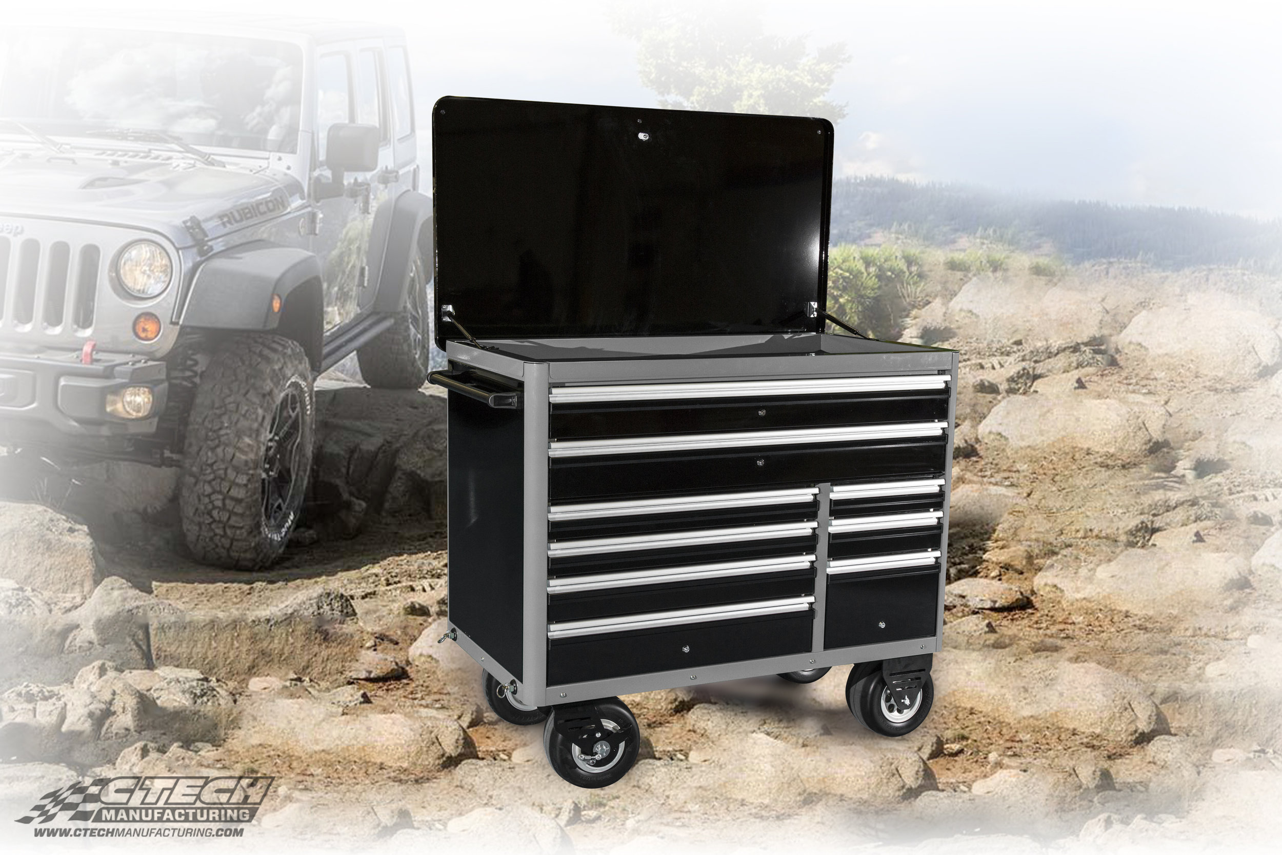 Bad Ass Caster Carts by CTECH pair the leading all-terrain caster with secure, lockable MotionLatch drawers and a flip-top lid that doubles as a worktop. Custom finishes, etchings, and engravings are also available for all carts.