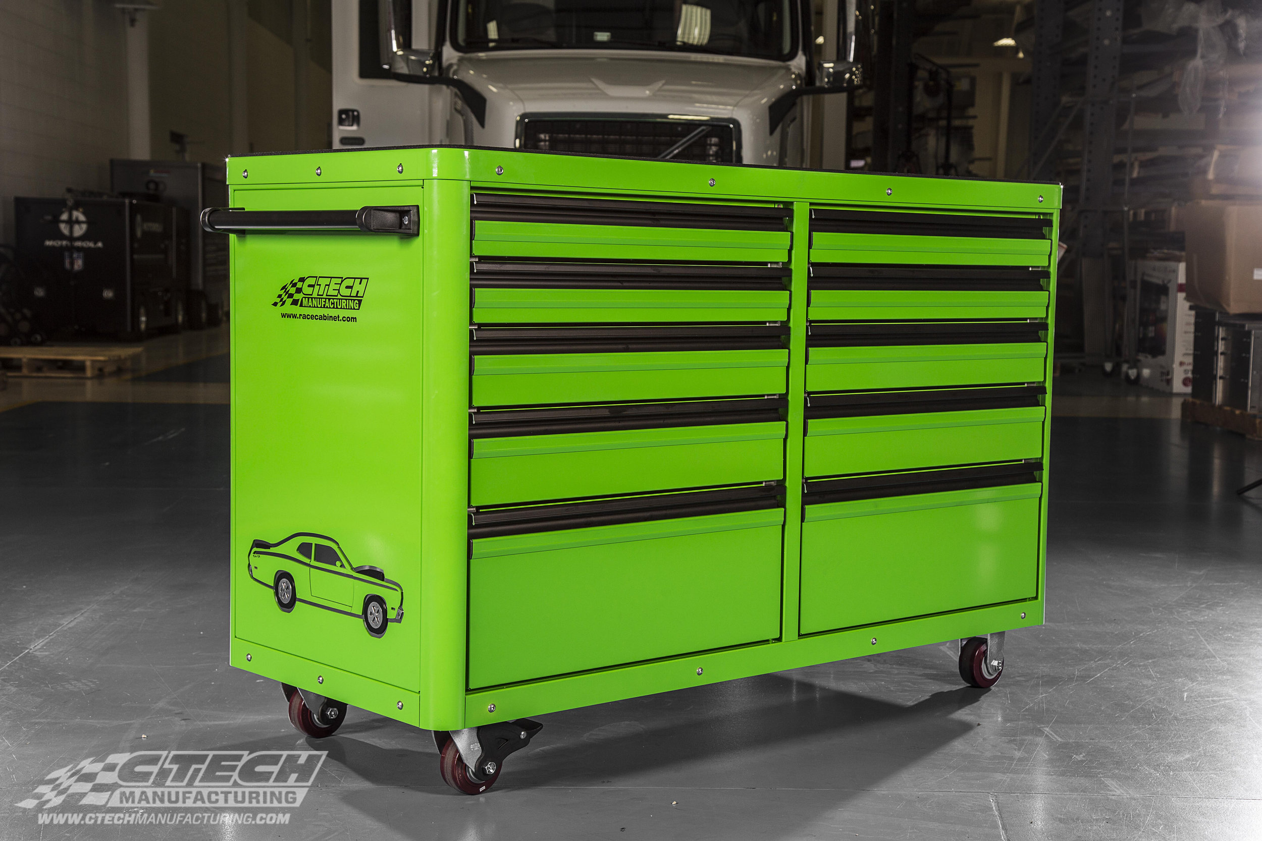 All CTECH products can be extensively customized;meaning your new toolbox can have everything from a custom paint job, to stickers,engraving, and much more. You have the power to choose whether or not your new unit stands out, or fits right in!
