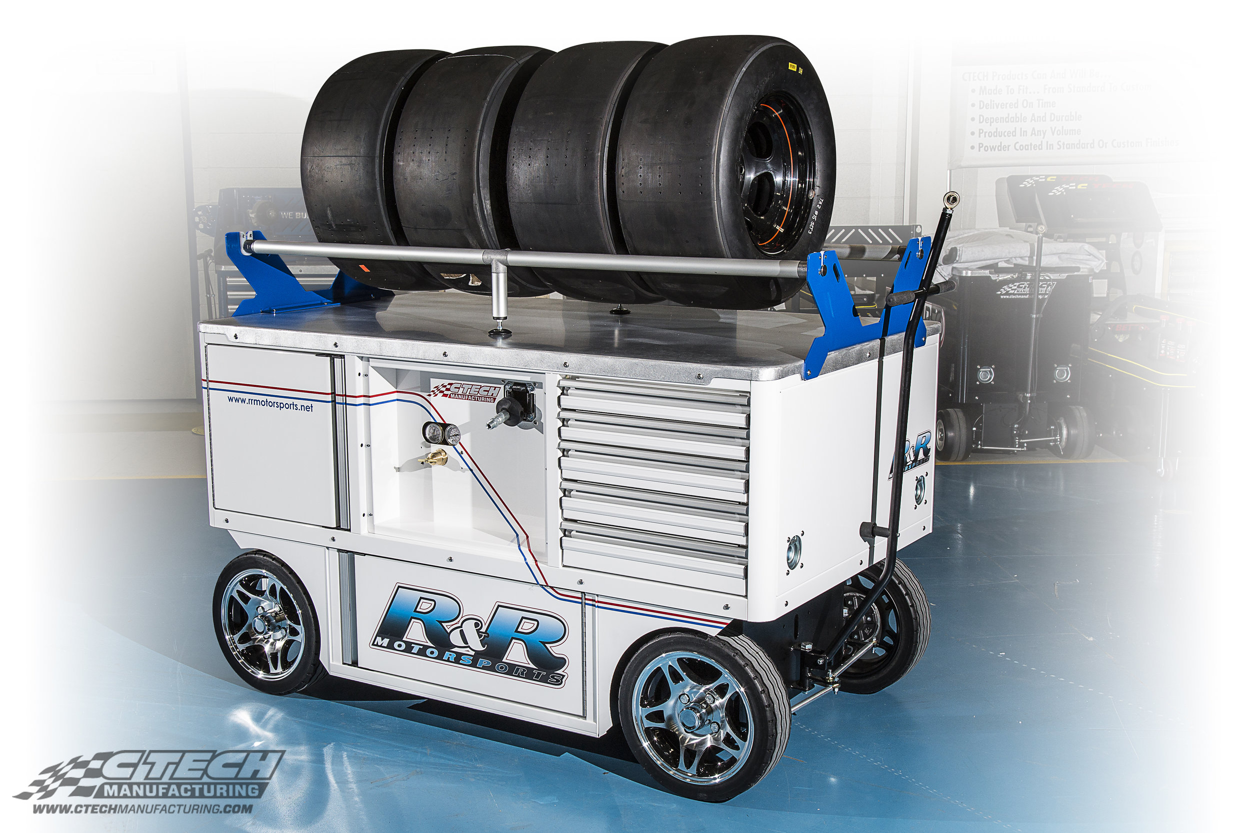There's a large variety of upgrades, options, and accessories available to all standard carts, including this newly introduced tire rack that easily mounts on top of a Worktop Cart!