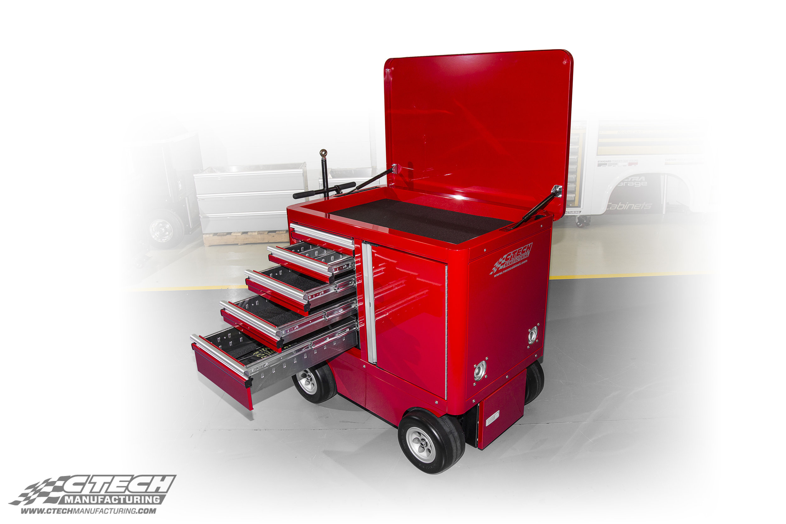 """CTECH Mini Carts feature a specially engineered chassis that equips Flat-Free all-terrain wheels and brakes to provide the ultimate low-profile """"Push/Pull/Tow"""" mobile tool/equipment storage unit."""