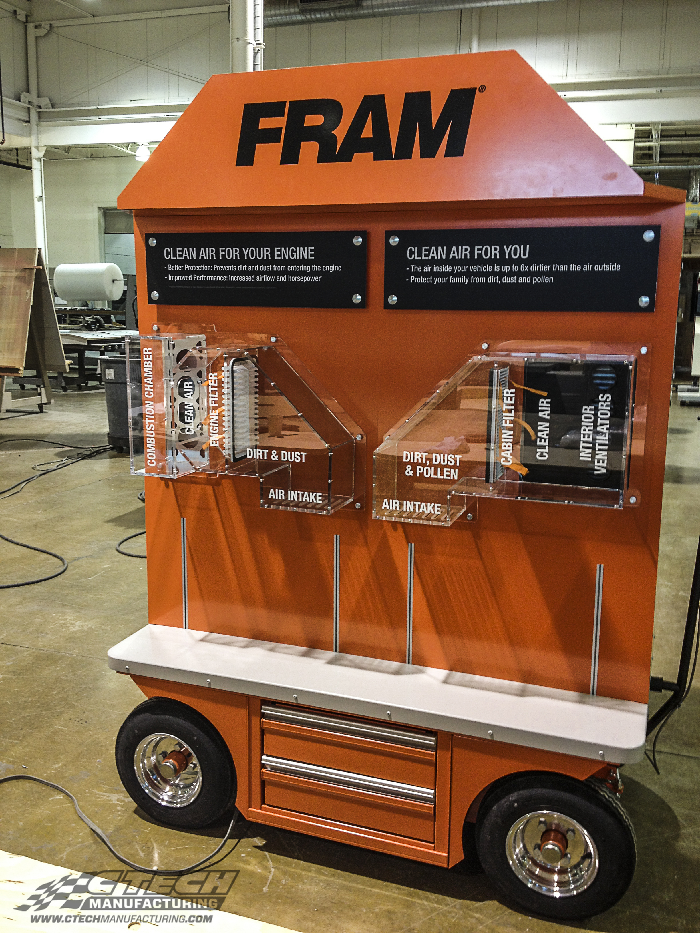 This awesome display cart was put together for FRAM air filters to demonstrate their product at various events and trade shows. Not all interactive display carts are created equal, and CTECH display carts are engineered to be the best!