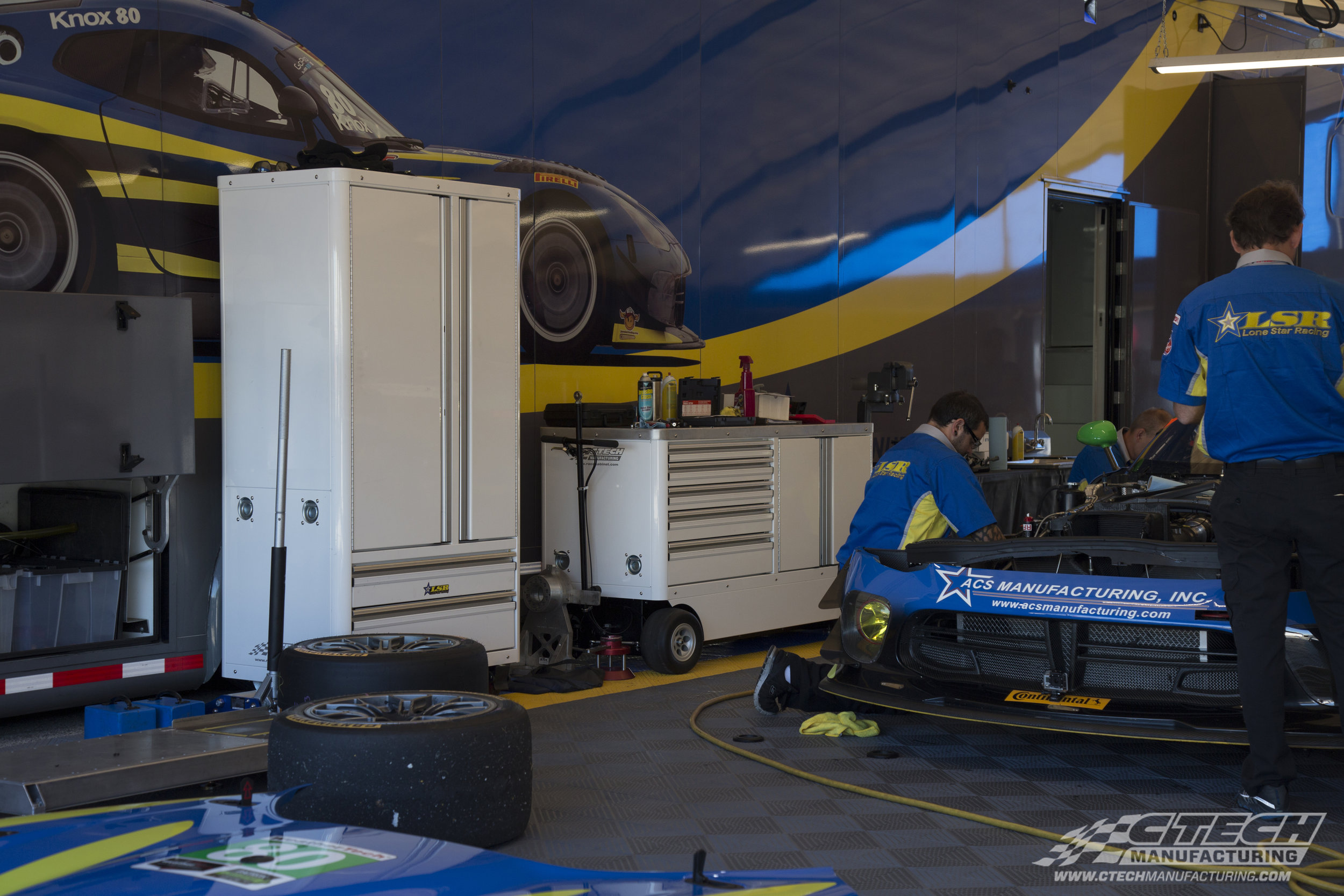 CTECH specializes in bringing the functionality of an entire garage to the paddock. Our Caster Cabinets and Mini Carts equipped with FlatFree wheels are ready to go to work immediately after being wheeled out of the trailer/transporter.