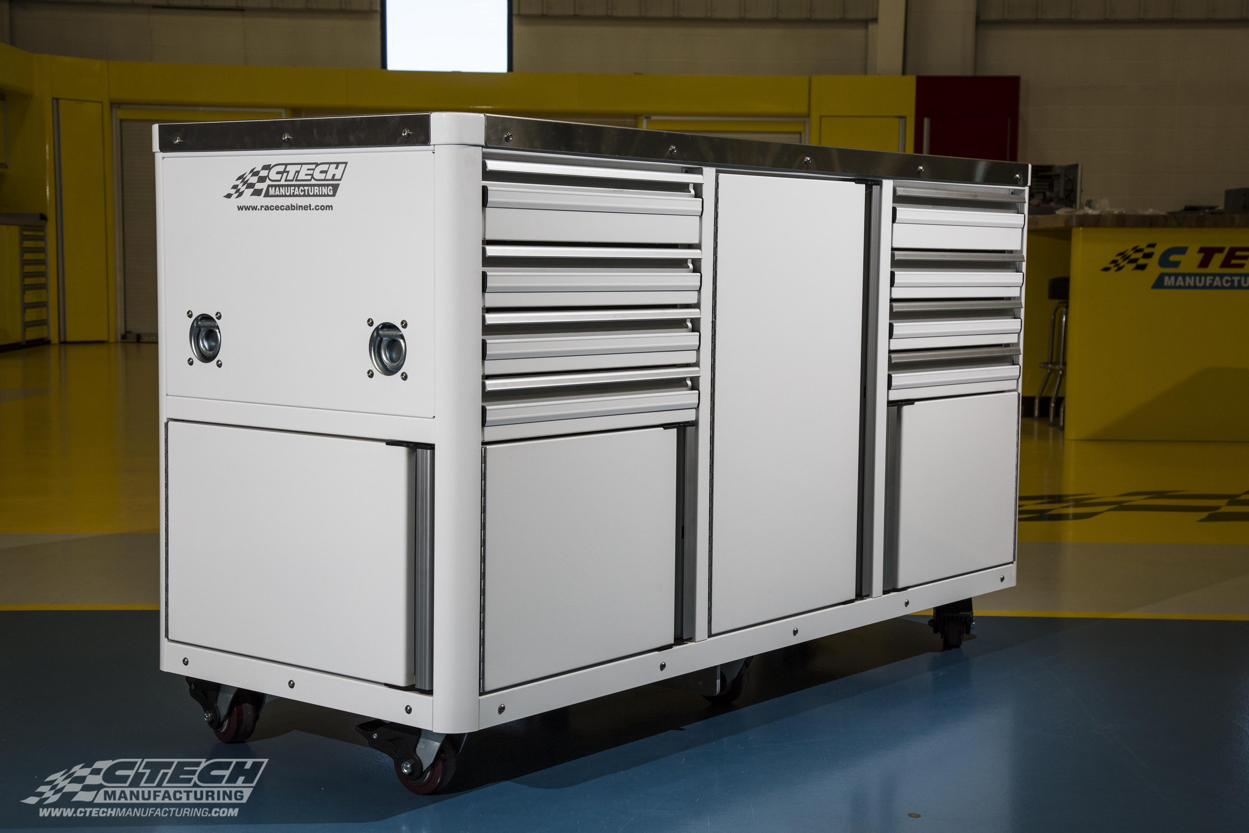 Standard CTECH Caster Carts come in 1, 2, or 3-opening storage configurations, but can also be customized to include any combination of MotionLatch Doors/Drawers, electrical hookups, and BlackLine Accessories.