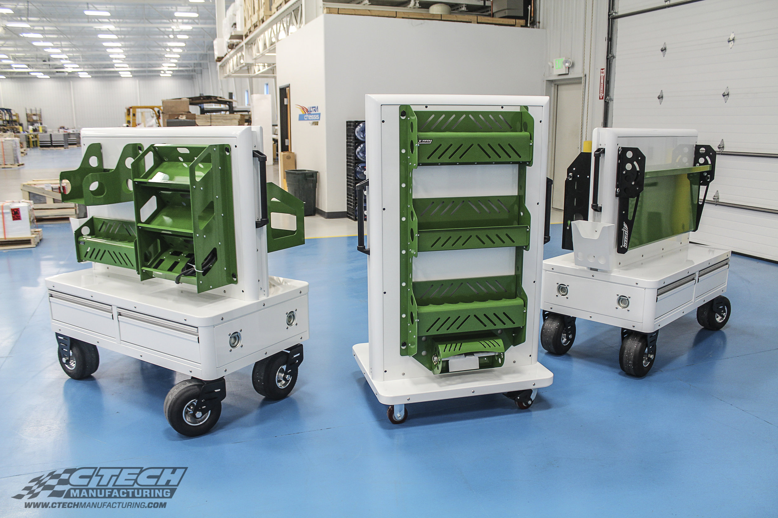 CTECH Display Carts and Blackline Accessories are an aesthetic combo. Here are a few examples of standard display carts configured to show off those accessories. They look just as good on their own, however!