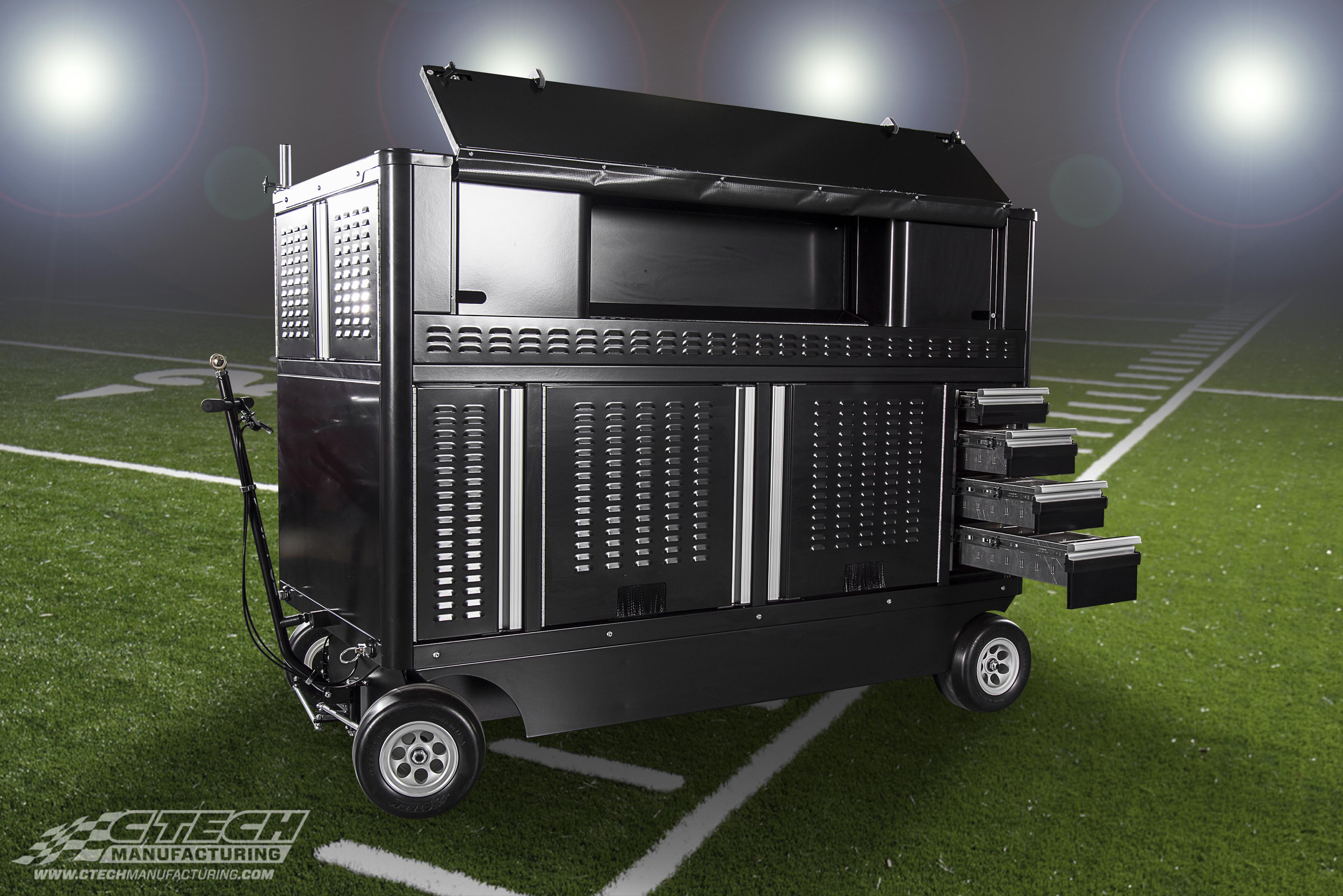 If you've ever watched an NFL game, you've probably seen a CTECH Digital Communication Cart in action! These carts keep media equipment safe, organized, and readilly mobile during the big game.