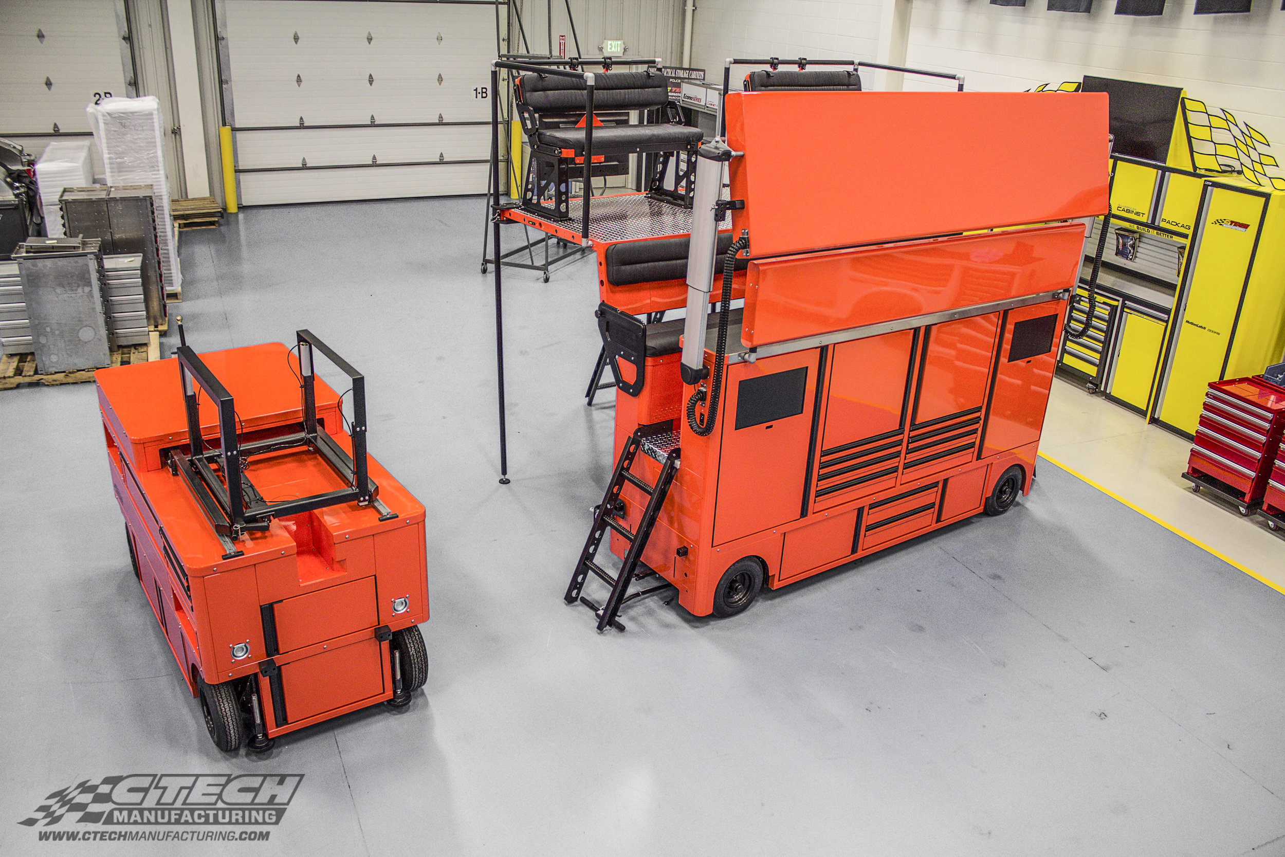 Nobody does pit-lane storage better than CTECH. Ultra and Fuel Carts, pictured here, are must-haves for serious endurance racing teams that rely on efficient teamwork when it matters most.