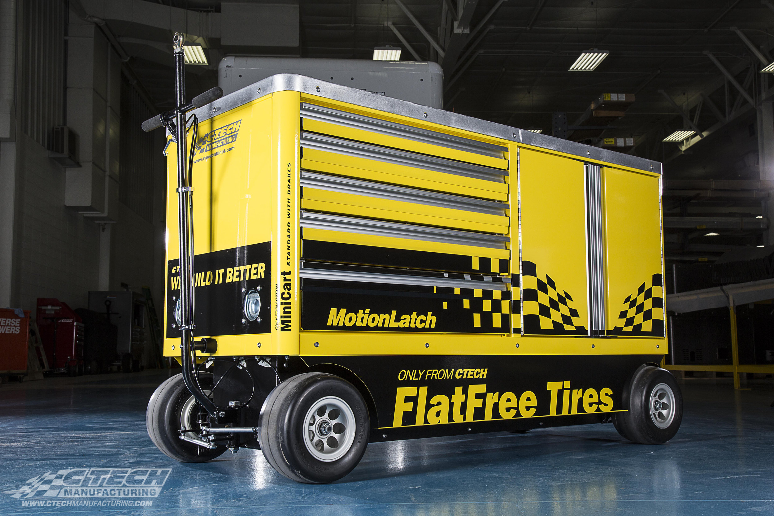 """All CTECH Mini Carts come with an unbeatable 250lb load rating per drawer, along with patented MotionLatch and FlatFree technology to create the perfect """"one-sided"""" tool/equipment storage cart."""