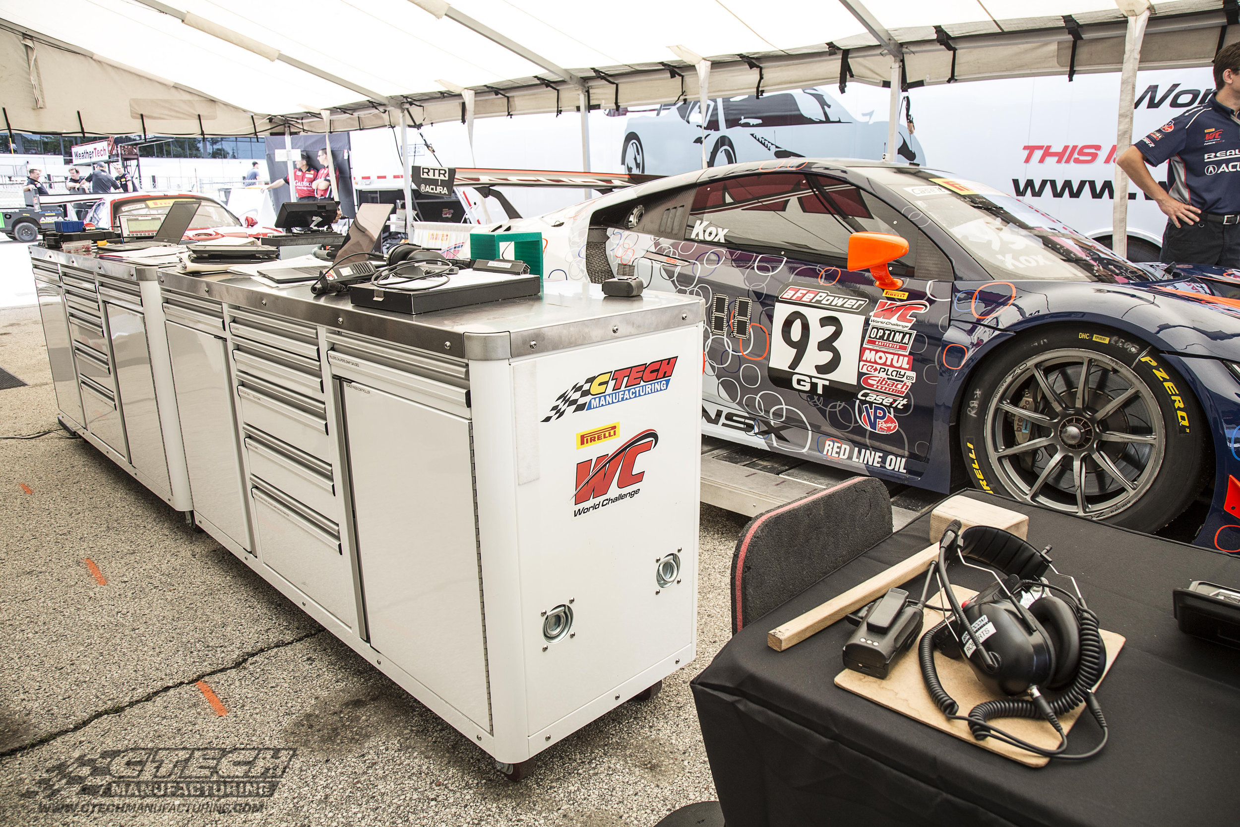 CTECH Caster Carts are found at every end of the racing paddock. This one is used by SCCA World Challenge officials in the technical inspection area. As you can see, the heavy-duty aluminum worktop get plenty of use!