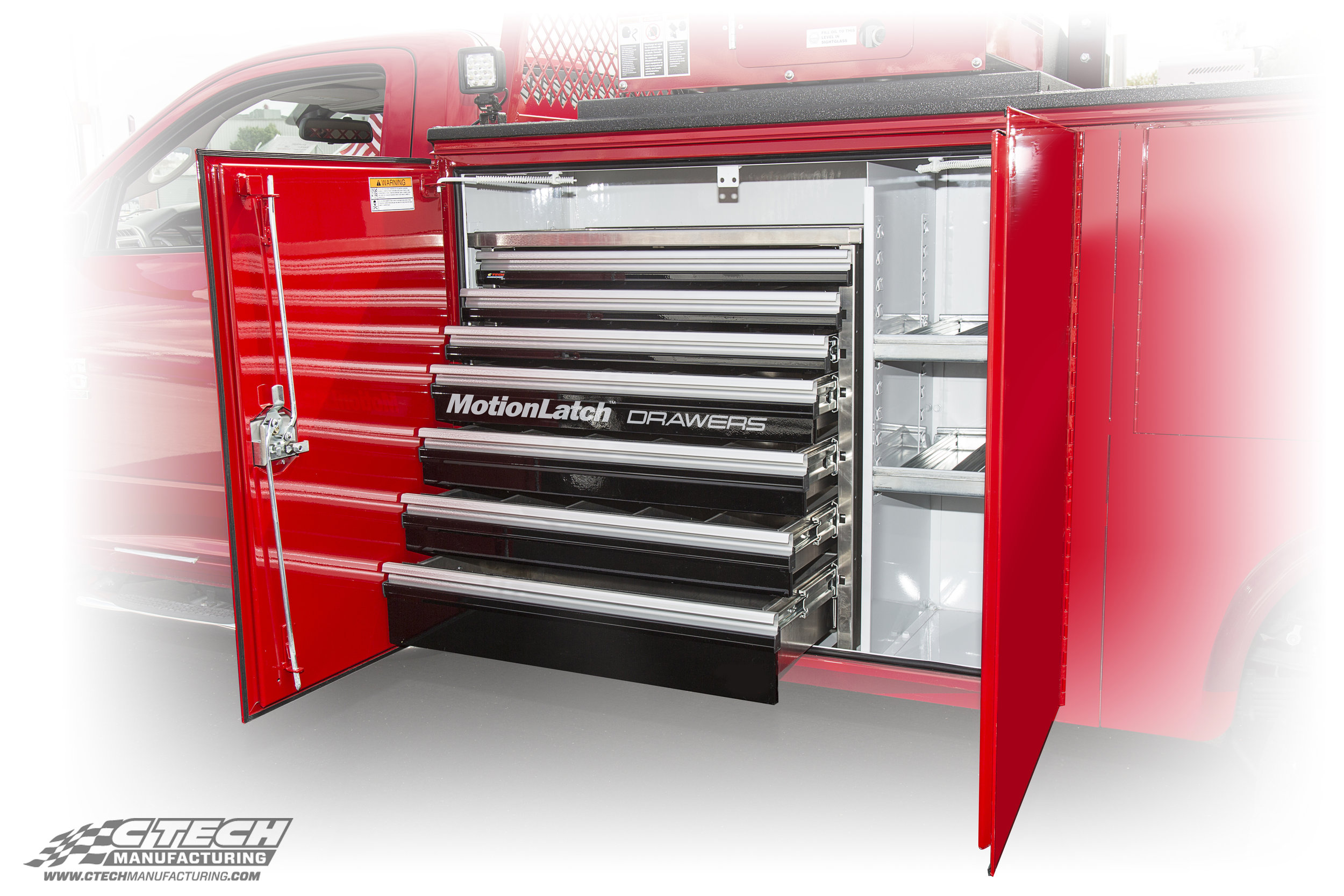 Standard Duty aluminum tool drawers from CTech boast a 250Lb load rating and MotionLatch drawer handle technology. They are easily mounted to any truck body opening.