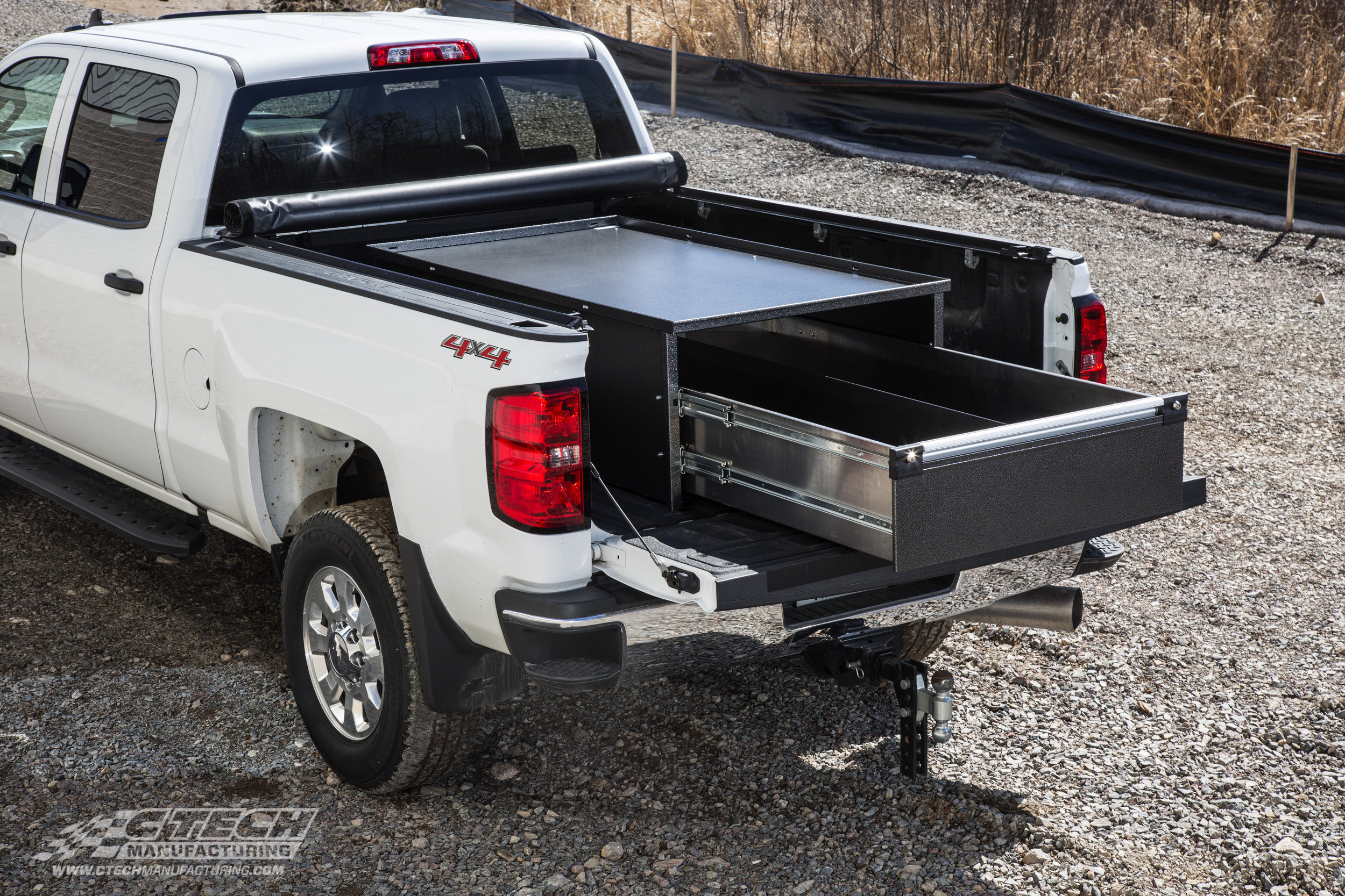 Keeping items in your truck bed stored, secured, and accessible is easy with a CTech drawer inserts. This locking, full-extension drawer unit was developed to fit in the bed of a Chevy pickup.