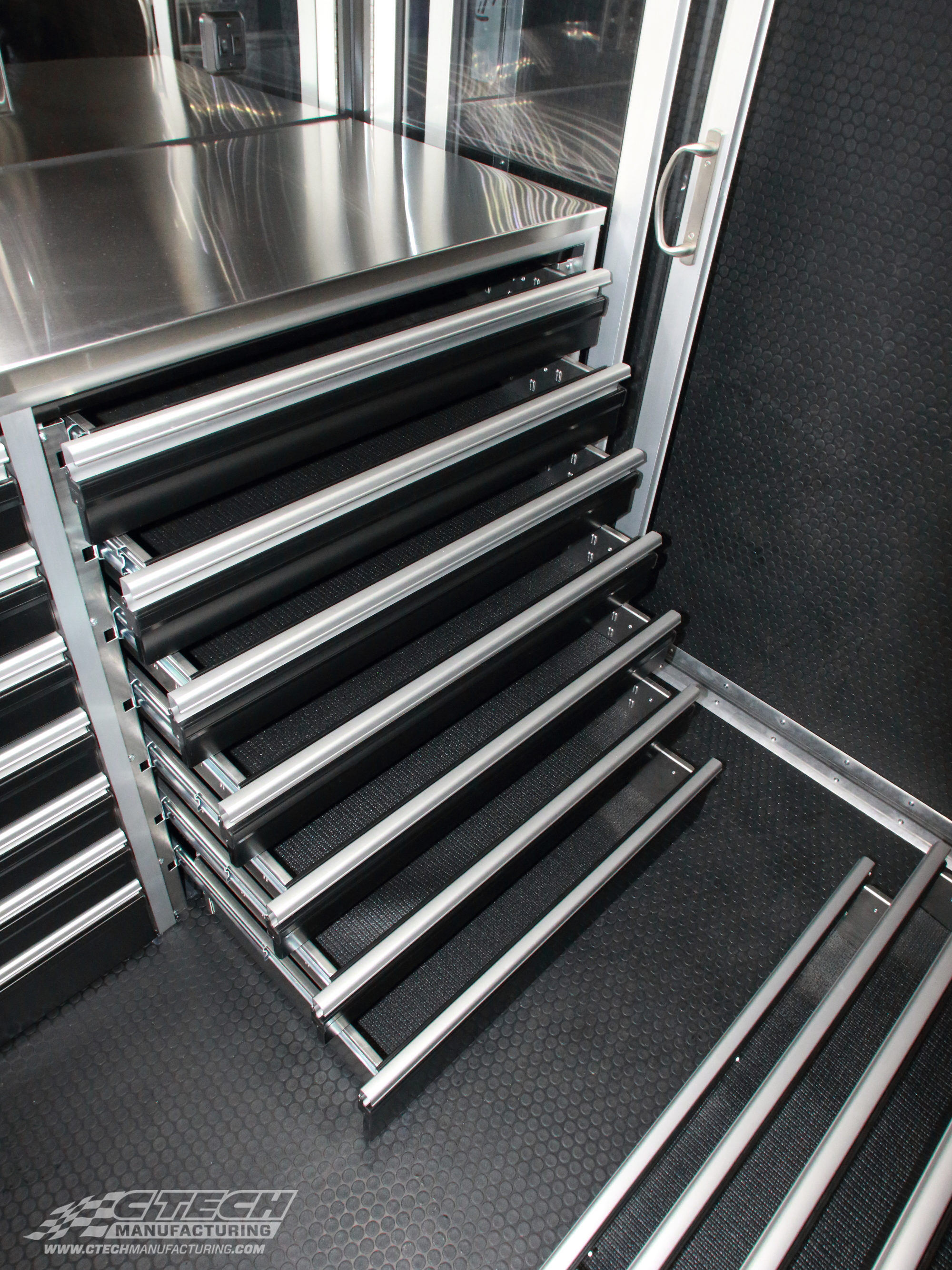 If there's an opening, there's space for a CTech drawer insert! This trailer cabinet unit came with cheap drawers, but the owners managed to fit tough, innovative CTech drawers seamlessly into the stock system.