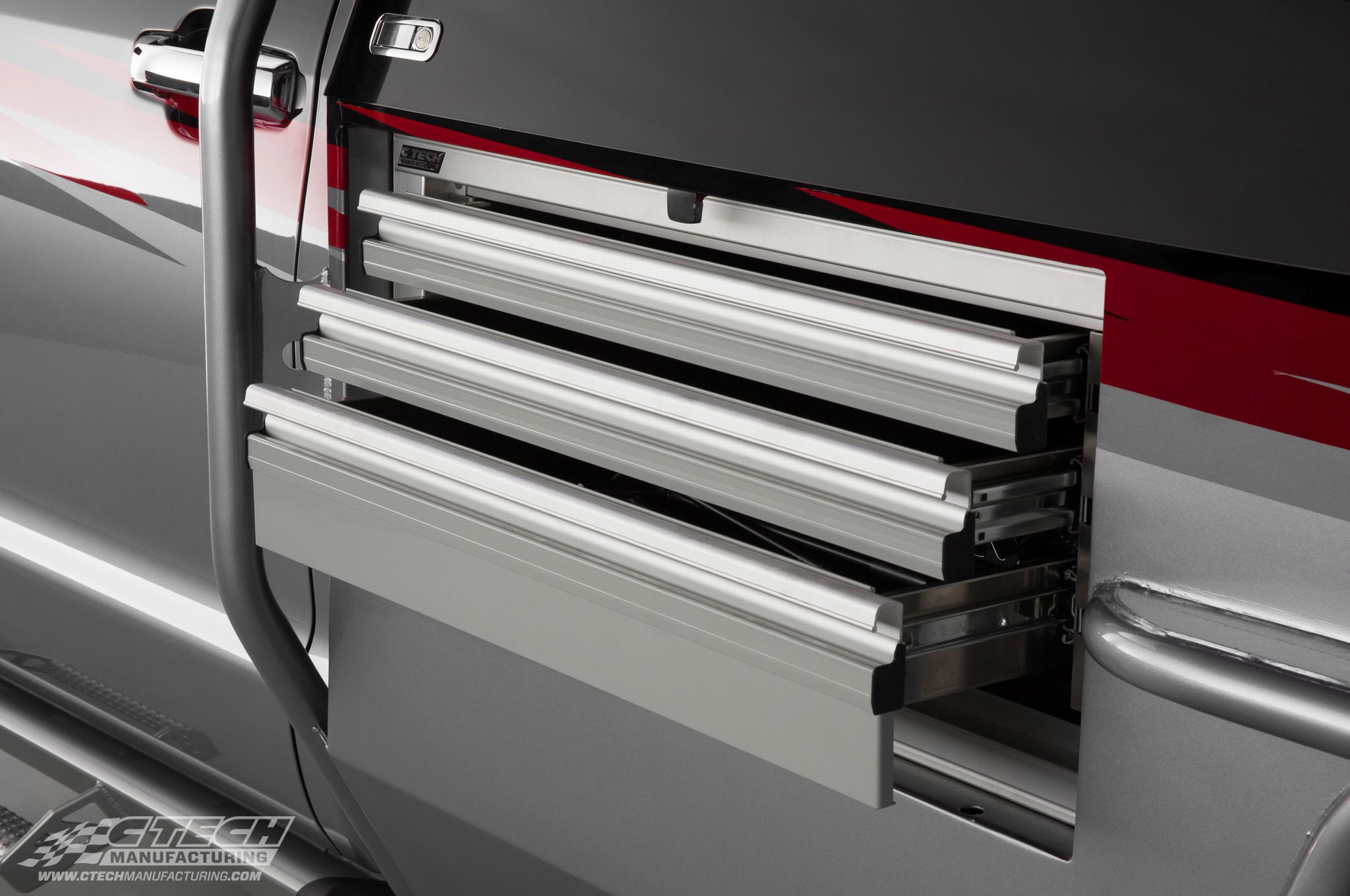 When Toyota decided to build a special off-road vehicle, they chose to put CTech Tool Drawers in the truck bed body. They wanted nothing but the best for their Let's Go Moto Dream Truck!