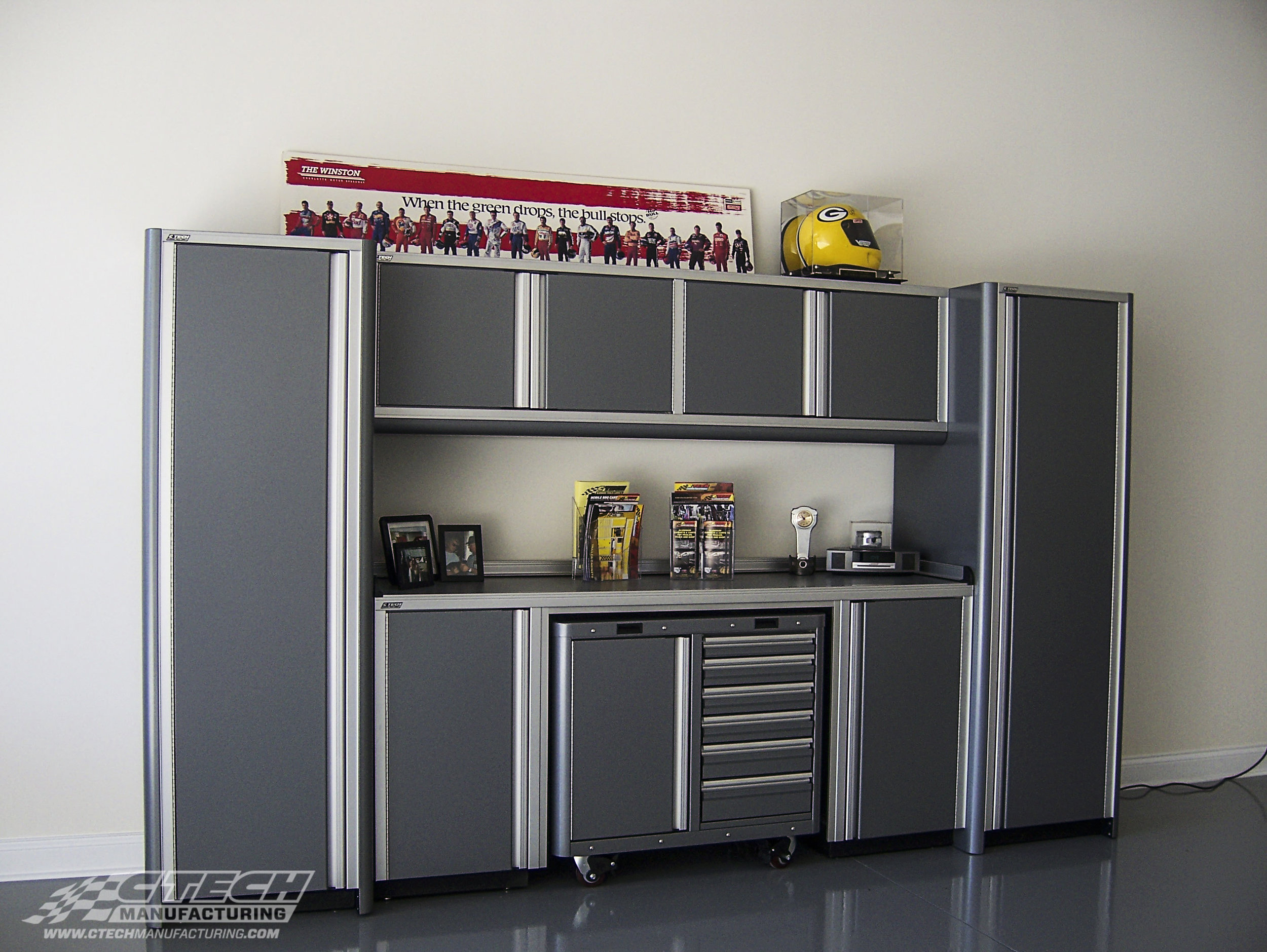 CTECH Grey Ultra Bristol Cabinet Garage with Rolling Tool Cart