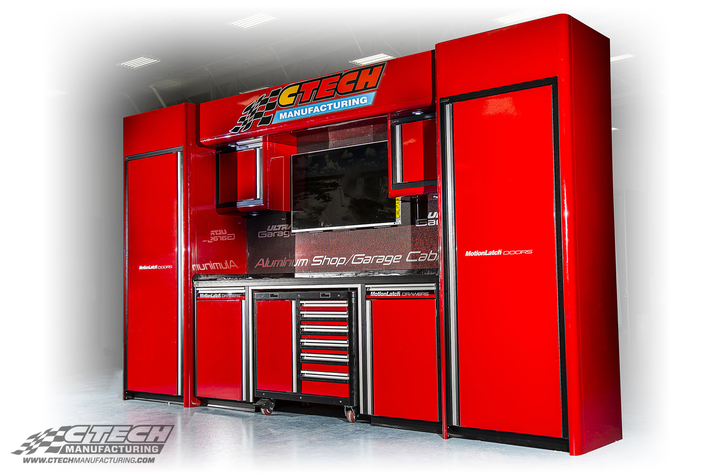 CTECH Red Ultra Knoxville Modified Garage Cabinet Package with T