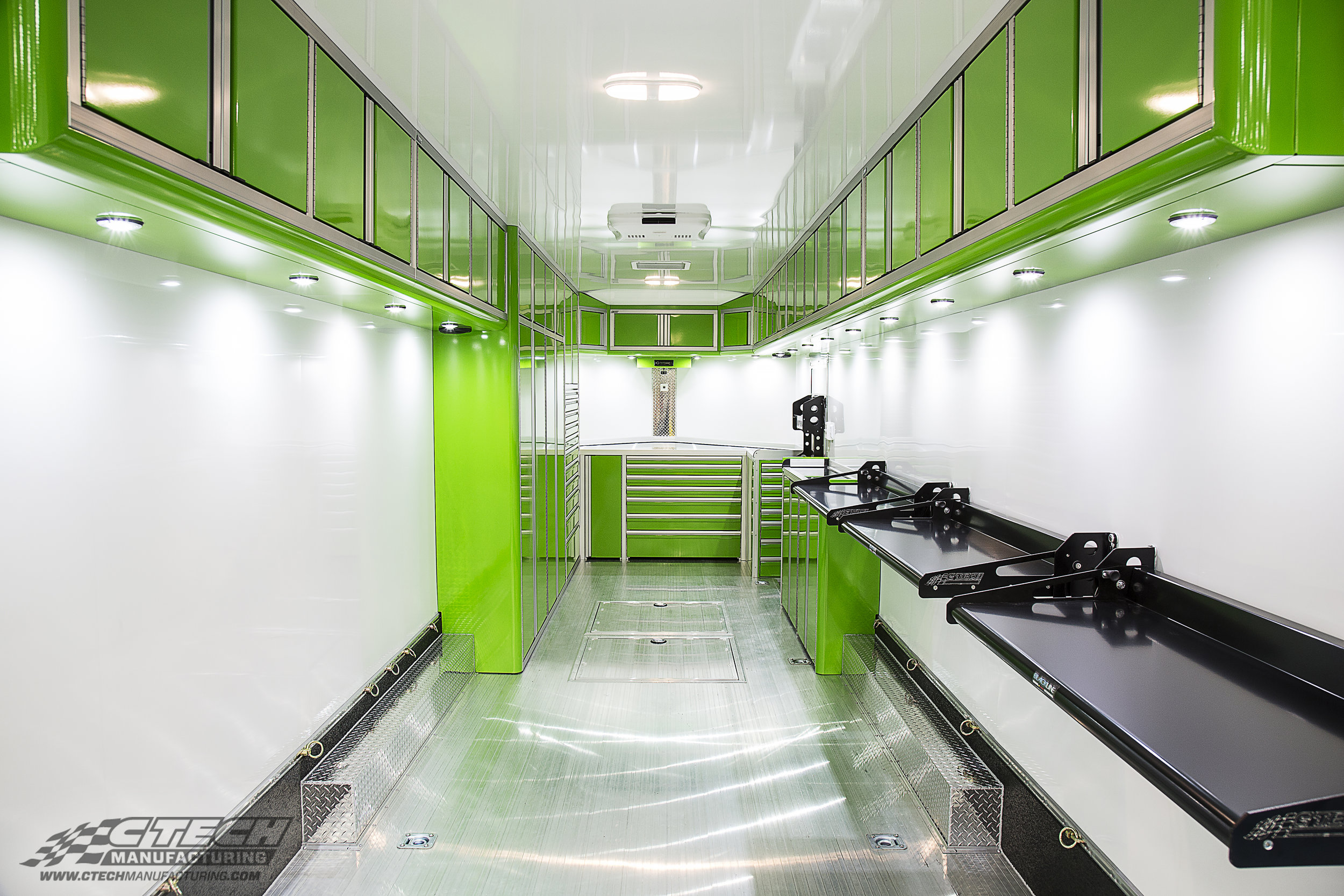 Green CTECH V-Nose Trailer Drawer and Overhead Cabinet