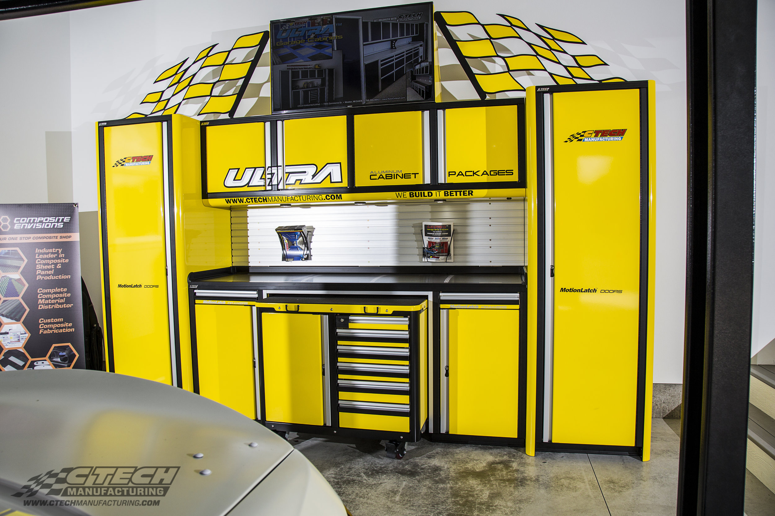 Road America Yellow CTECH Ultra Series Knoxville Garage Cabinet