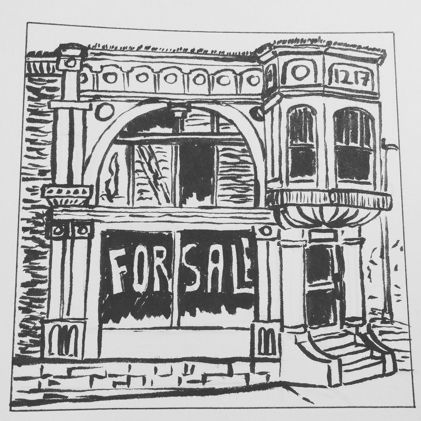 Storefront in Edina, Missouri   ink on paper