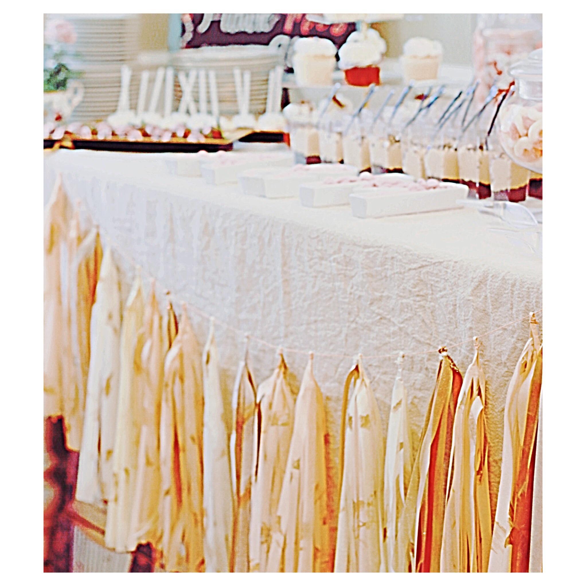 garland on dessert table