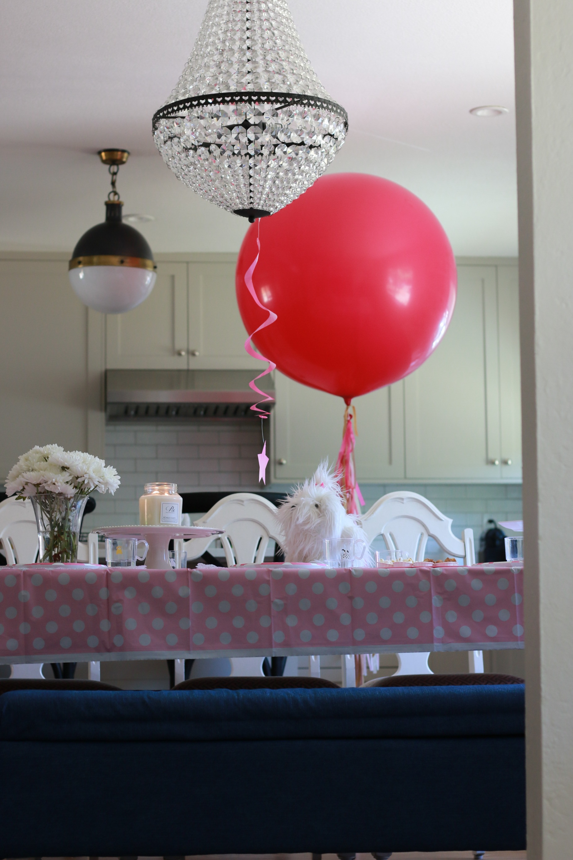 giant-balloon-raspberry-red-handpainted-tail-gold-ribbon-birthday-party-tea-puppy-kitchen-danville-ca