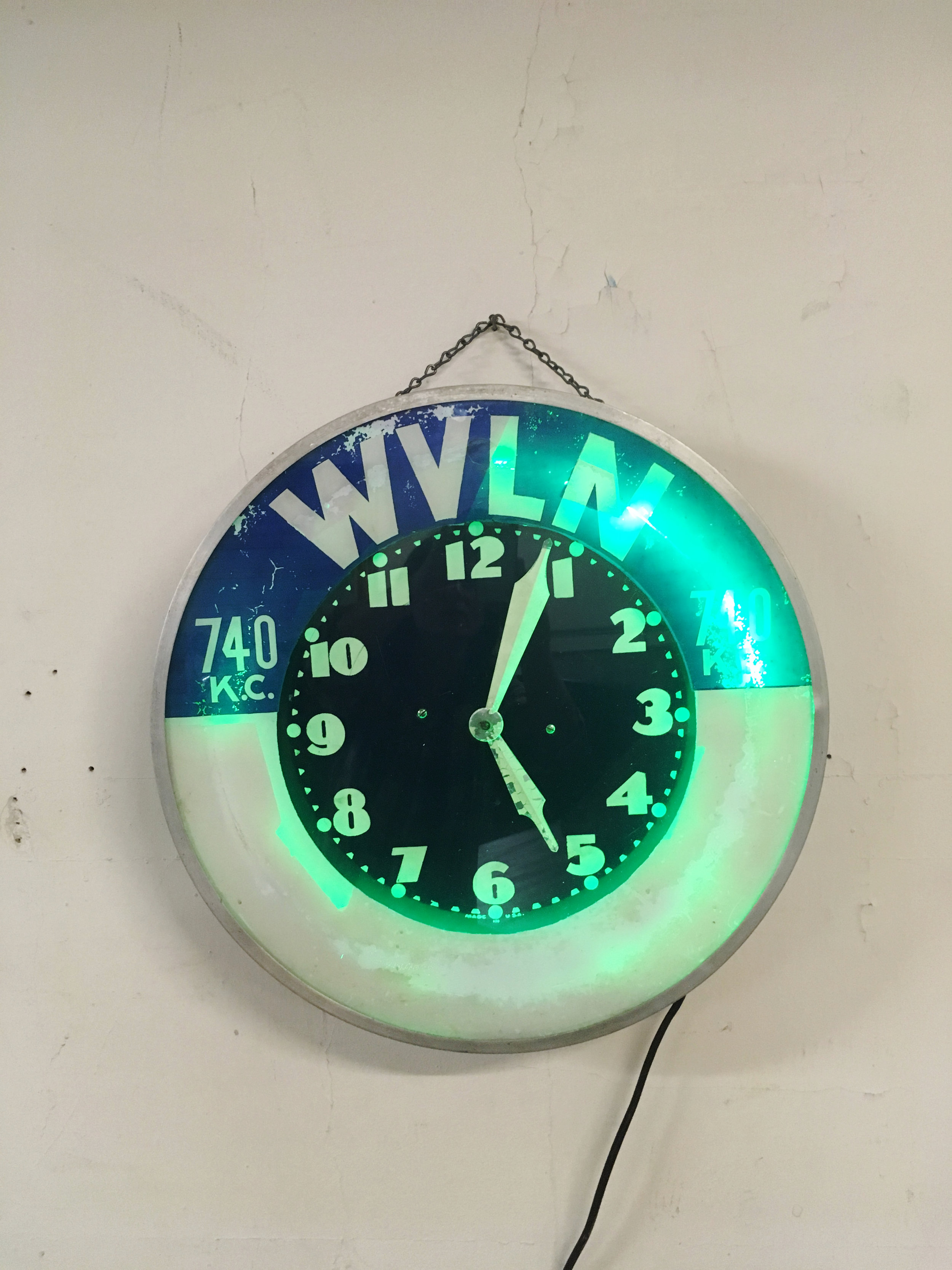 Vintage WVLN Neon Clock