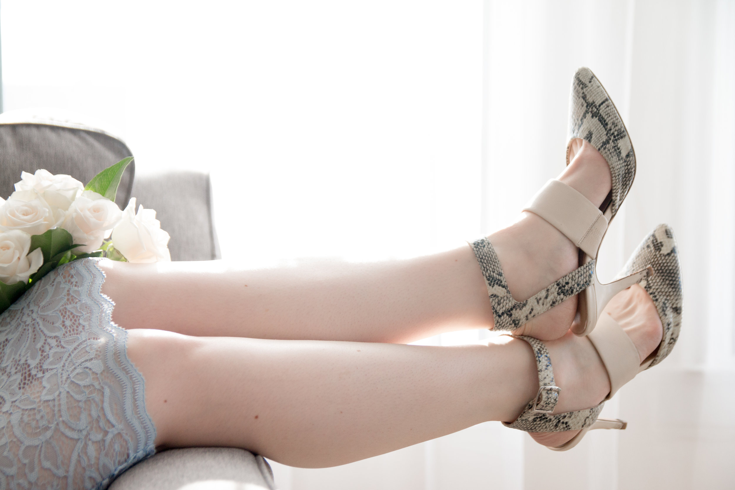 feminine edgy faux snake shoes