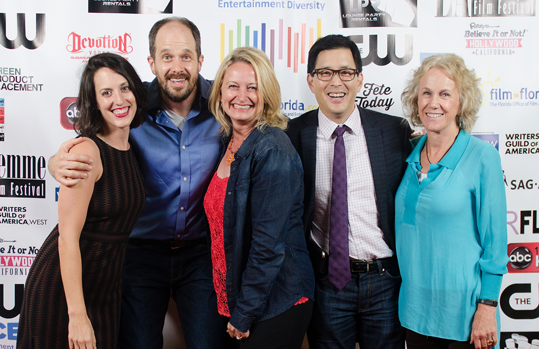 """Actors Kate Cook & Mike Ostroski, director Lori Kay Allred, producer Scott Takeda, and actor Catherine McGuire of  """"If Not Now"""" at opening night of LA Femme Film Festival (October 2015)"""