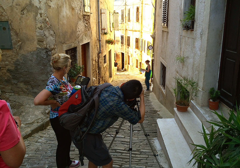 BS Filmworks writer/director Lori Kay Allred gives direction to lead actress Leslee Crisman in Motovun Croatia (July 2015)