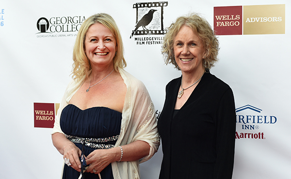 """Director/writer Lori Kay Allred and actor Catherine McGuire of  """"If Not Now"""" at the closing night red carpet gala of the Milledgeville Film Festival (April 2016)"""