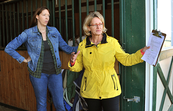Actor Rachel Hroncich takes direction from BS Filmworks director/writer Lori Kay at the Hanlon Family Ranch in Elizabeth, Colorado. (July 2014)