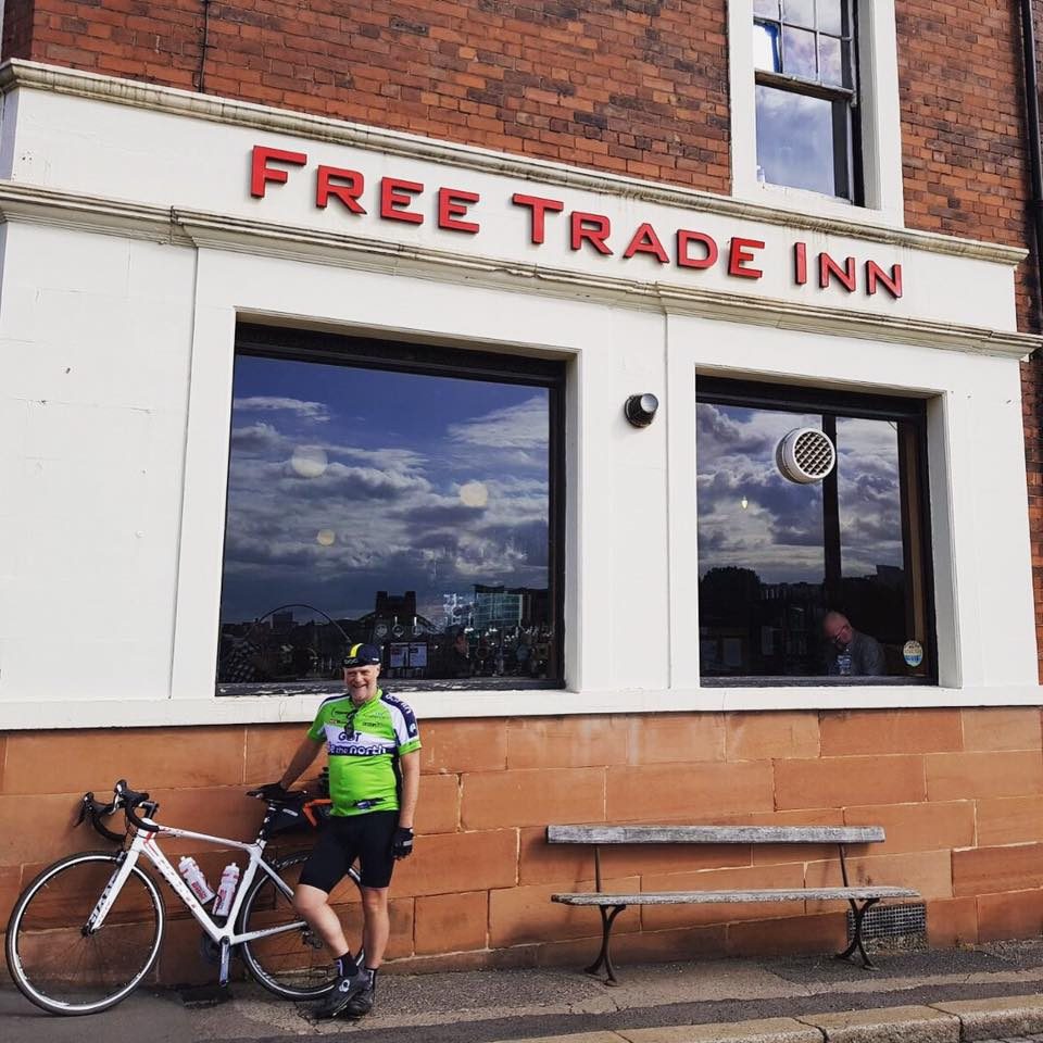 Day 5 - 500 miles in. Good ride...feeling the burn! I'm at the wonderful Free Trade Inn in Newcastle tonight with 8 of our beers on tap!