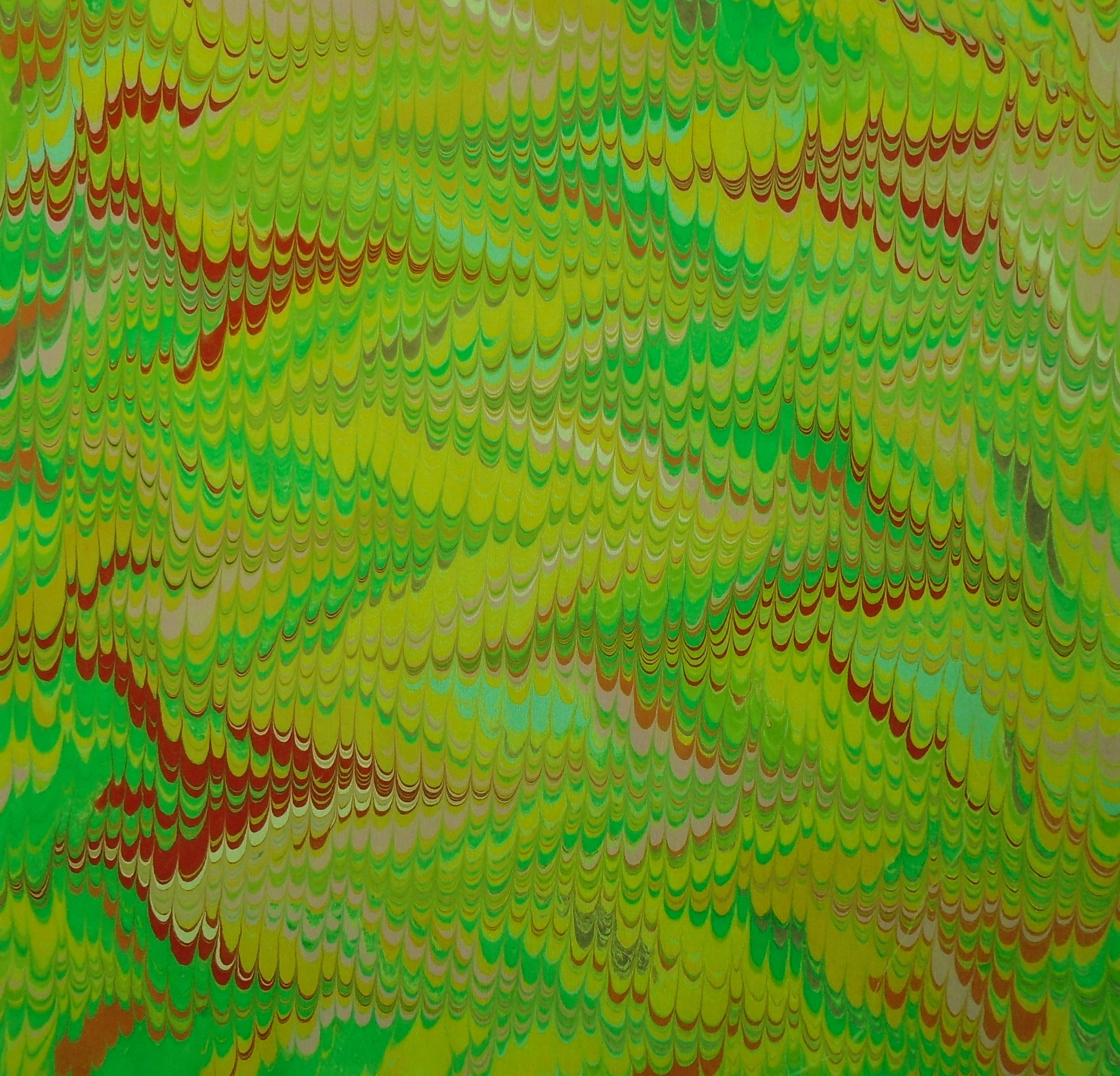"""""""Nonpareil"""" pattern marbled onto chartreuse fabric. 9.25"""" x 9.25"""""""