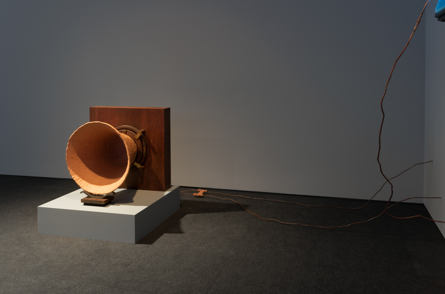 Conduct Matters, Hammer Project, Hammer Museum, Los Angeles. Visible:  Matter-phone , 2016, Terracotta, wood, metal, and copper wire, 25 x 24 x 21 inches, wire variable.