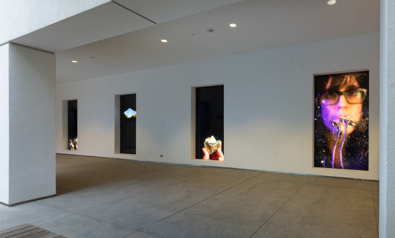 Courtyard lightbox installation