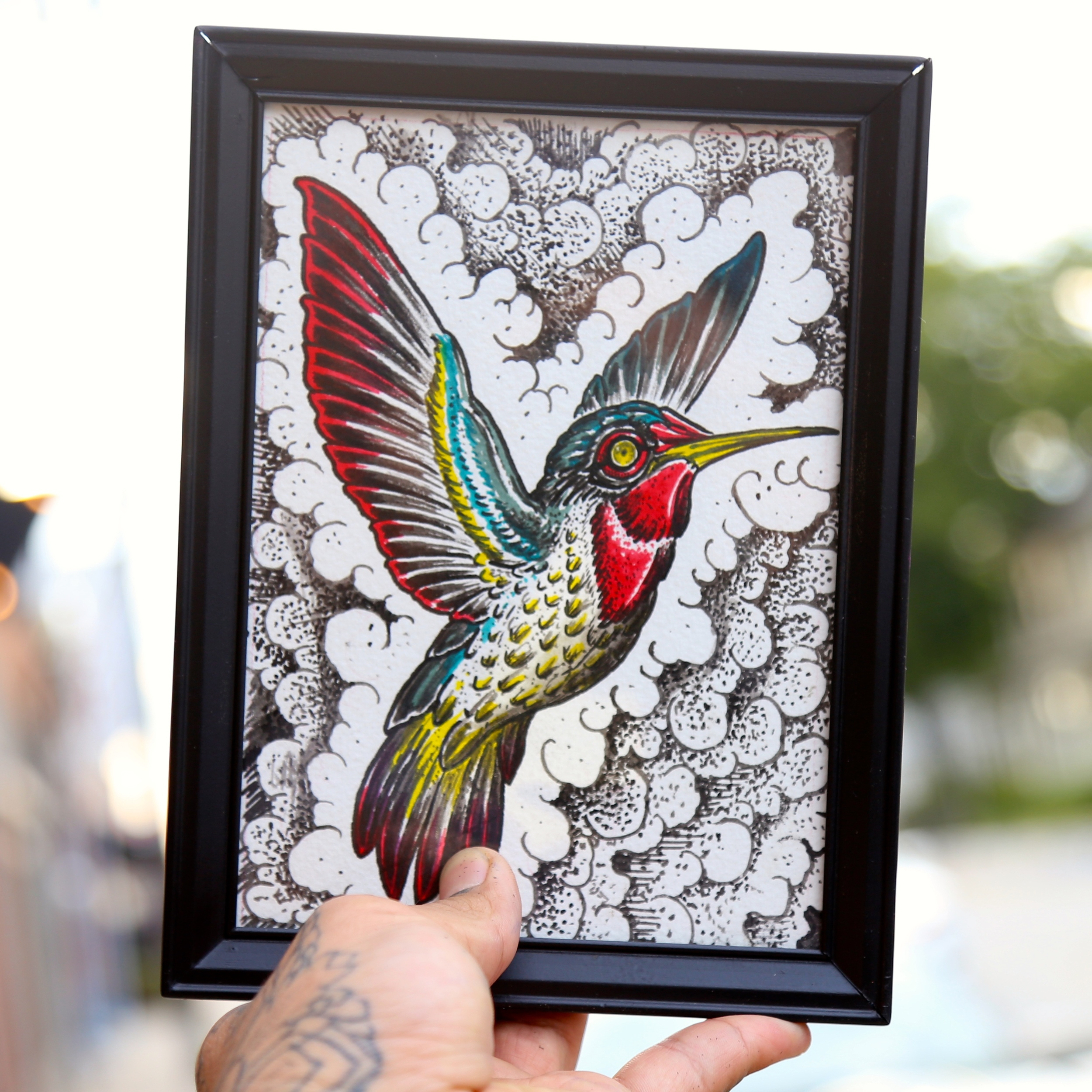 Humming bird Painting enrique bernal ejay tattoo.JPG