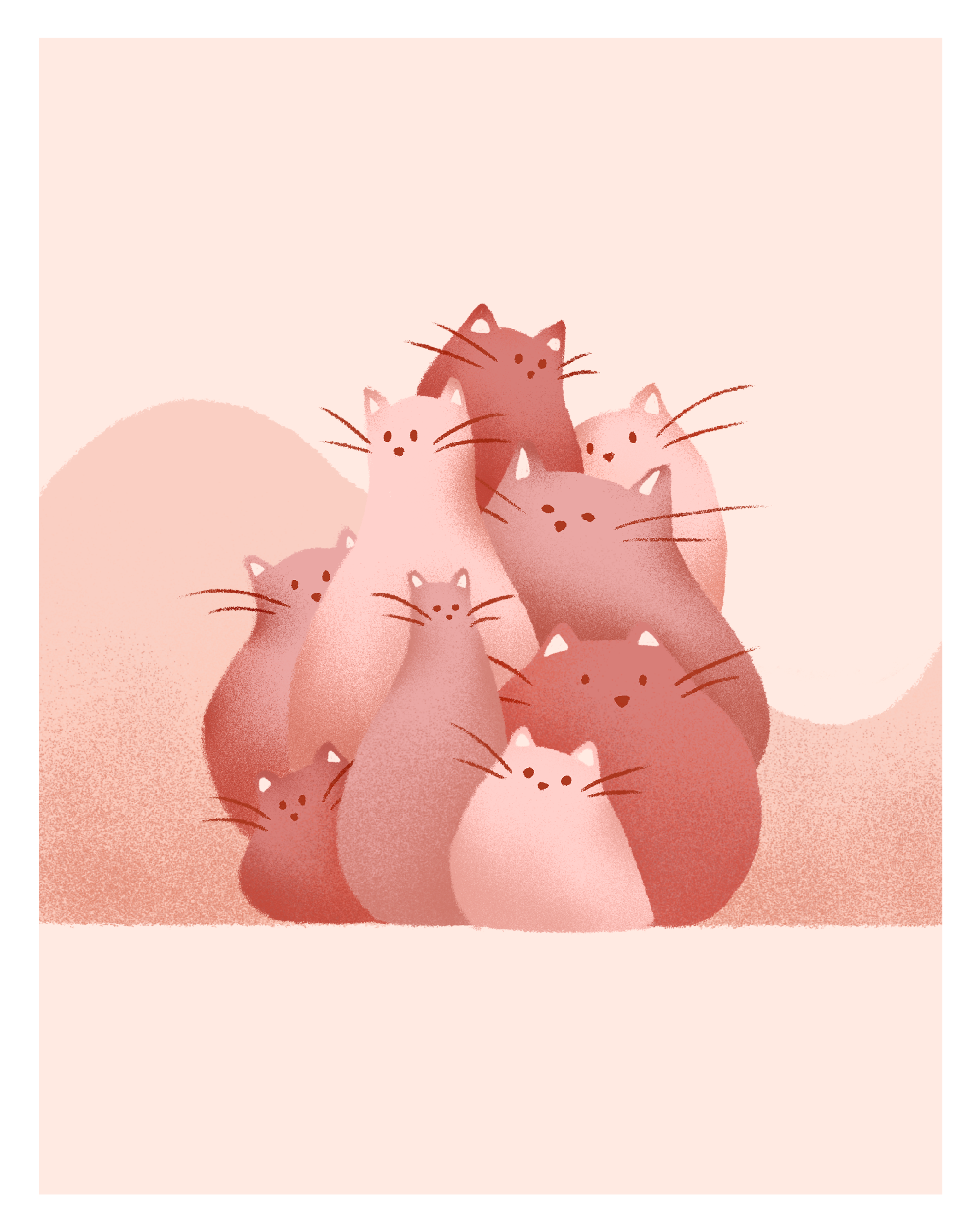 Self-directed work, 2019   Bowling pin cats