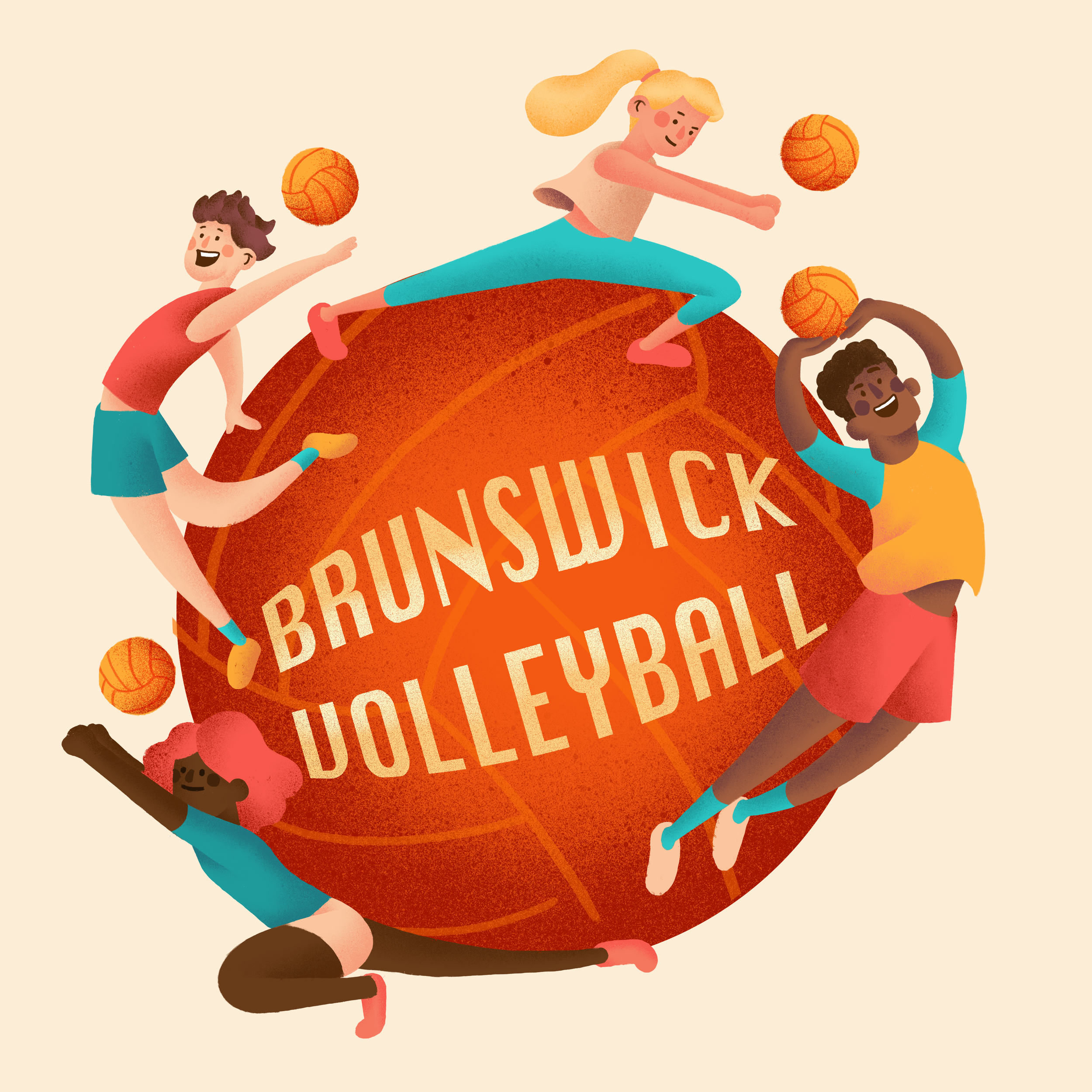 Commissioned Self-directed work, 2019   Volleyball t-shirt illustration for Brunswick Volleyball