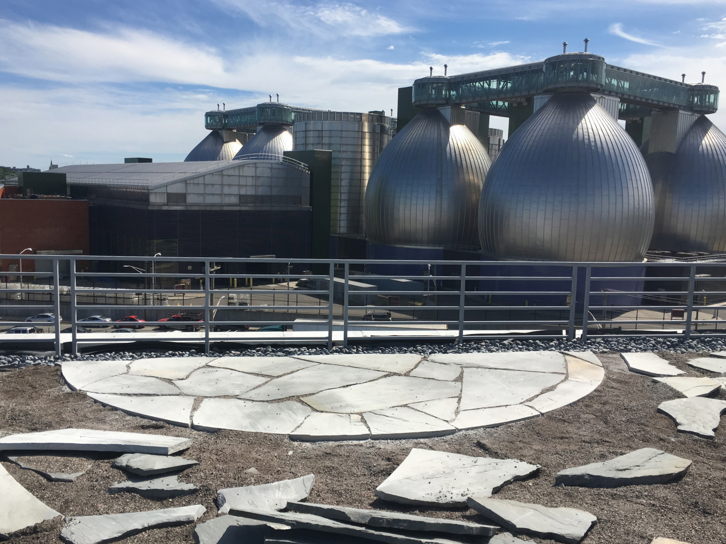 A large patio at the end of the upperdeck offers a beautiful view of the Newtown Creek Water Treatment Facility.