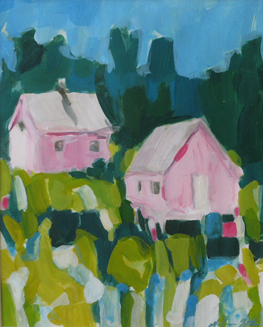 """Pink Houses"" by Dolores Justus (c)2008"