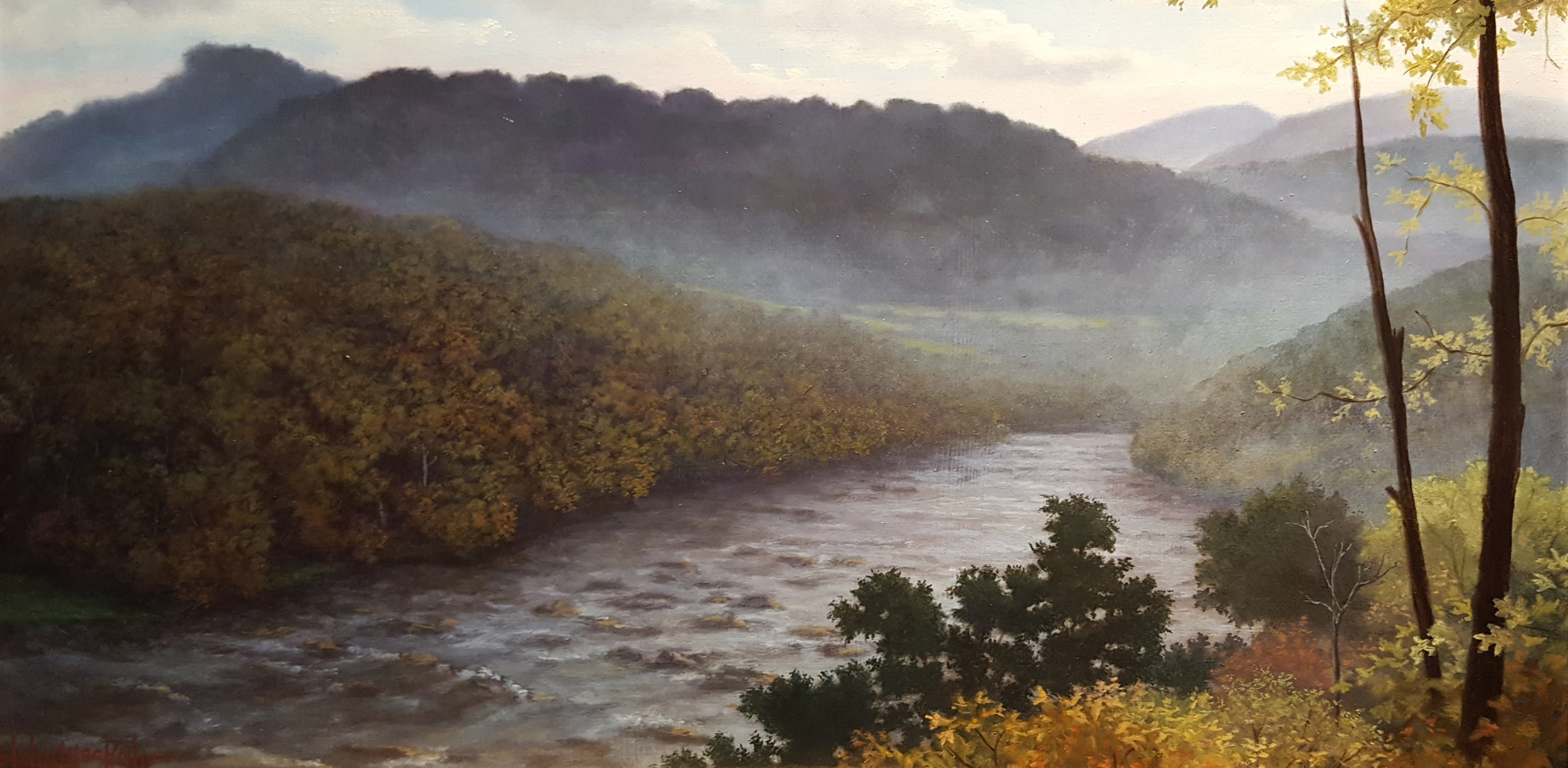 """The French Broad River, View from Olivette"" by John Mac Kah"
