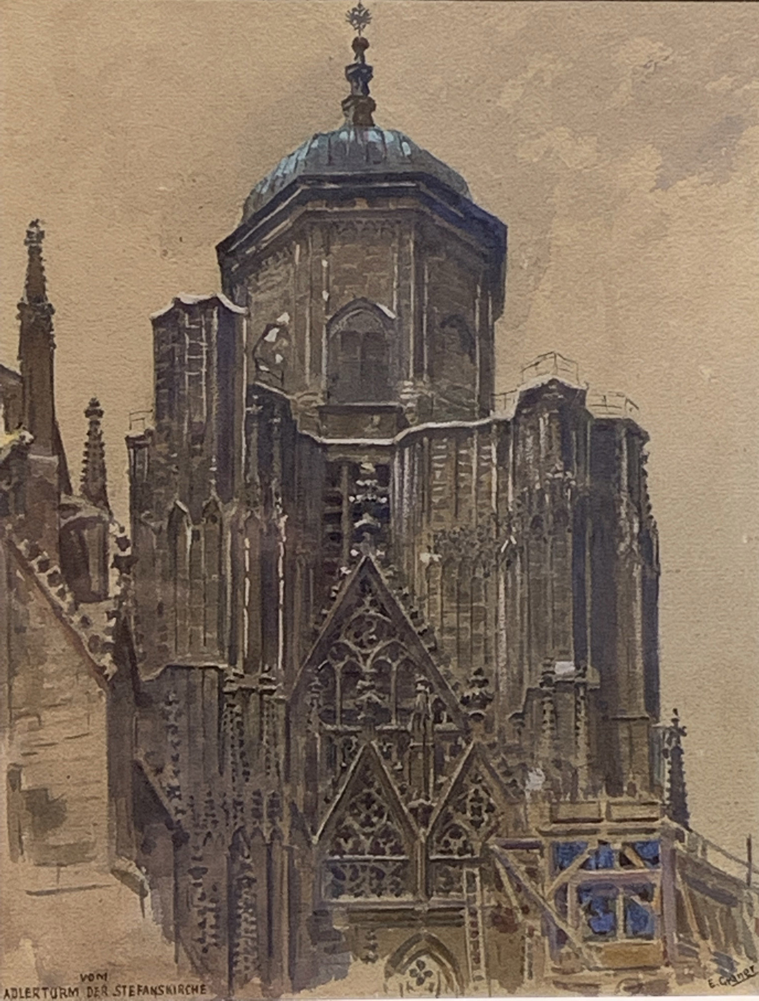 """German Cathedral"" by Ernst Graner (19th C)"