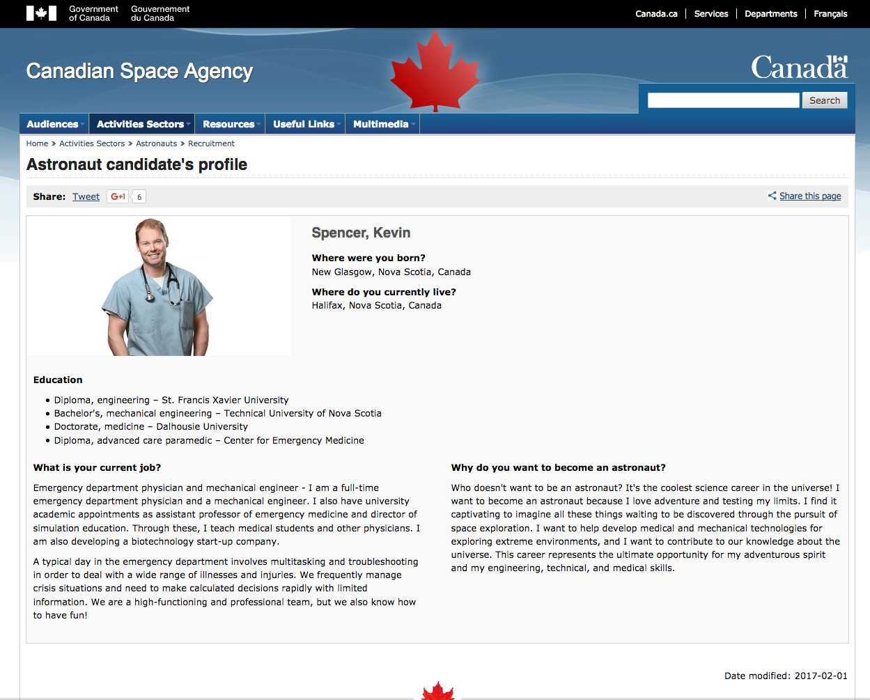 canadian space agency website profile: one of the top 72 finalists from an initial pool of 3772 applicants, during the 2016/2017 astronaut recruitment campaign