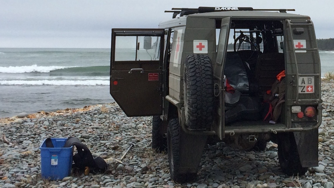 Exploring nova scotia's coastline for new surfing locations with the pinzgauer