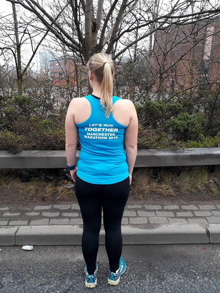 At the start of Manchester marathon 2018